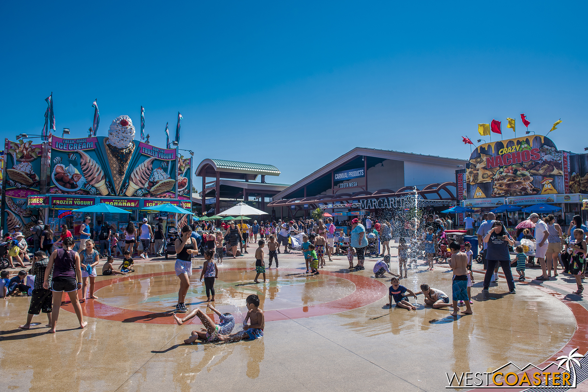 The fountain play zone in front of the Hangar is a popular spot for kids looking to beat the heat.  Germophobes may want to steer clear of the area, though.