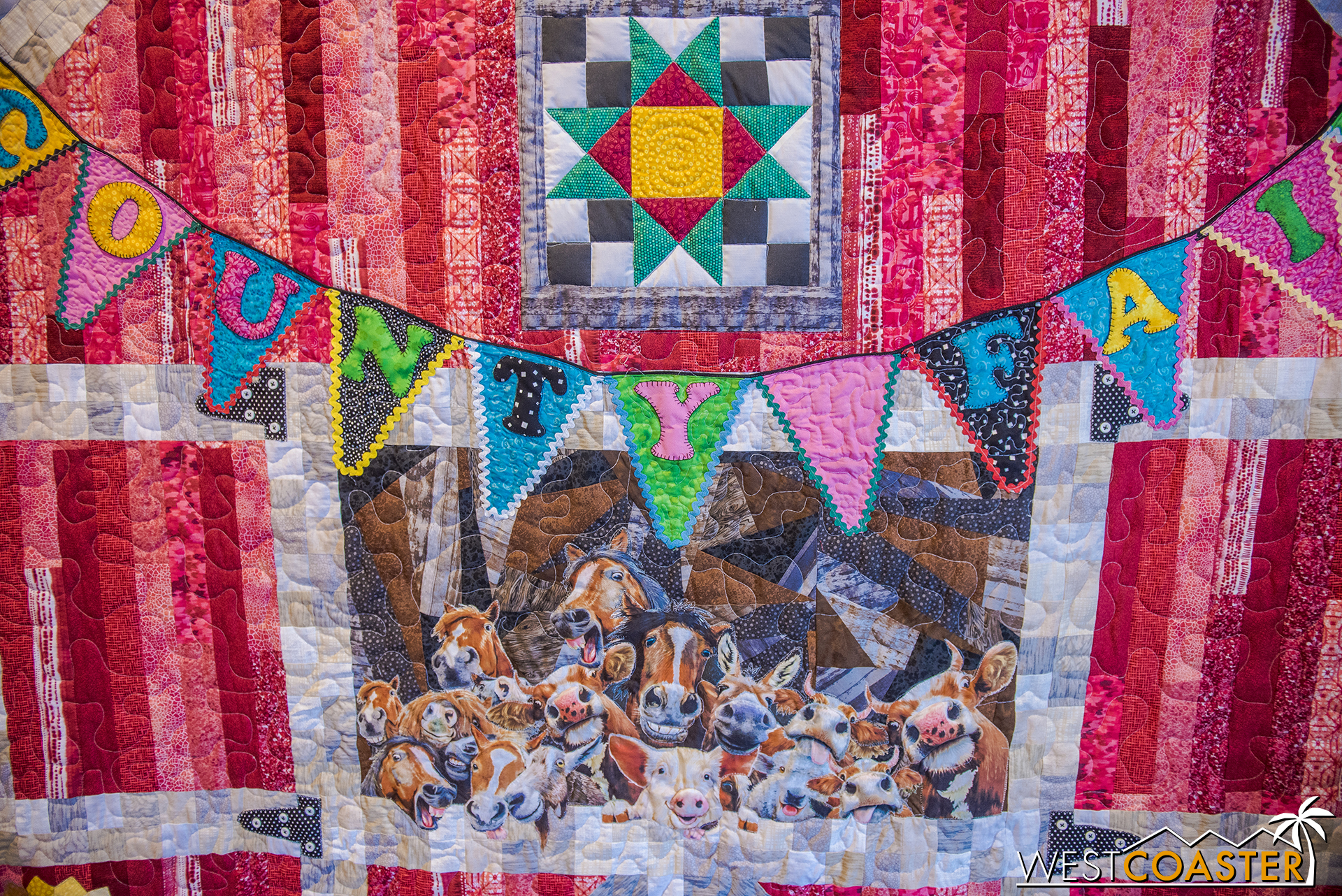 """This quilt was titled """"The Selfie Quilt,"""" which I guess kind of make sense."""
