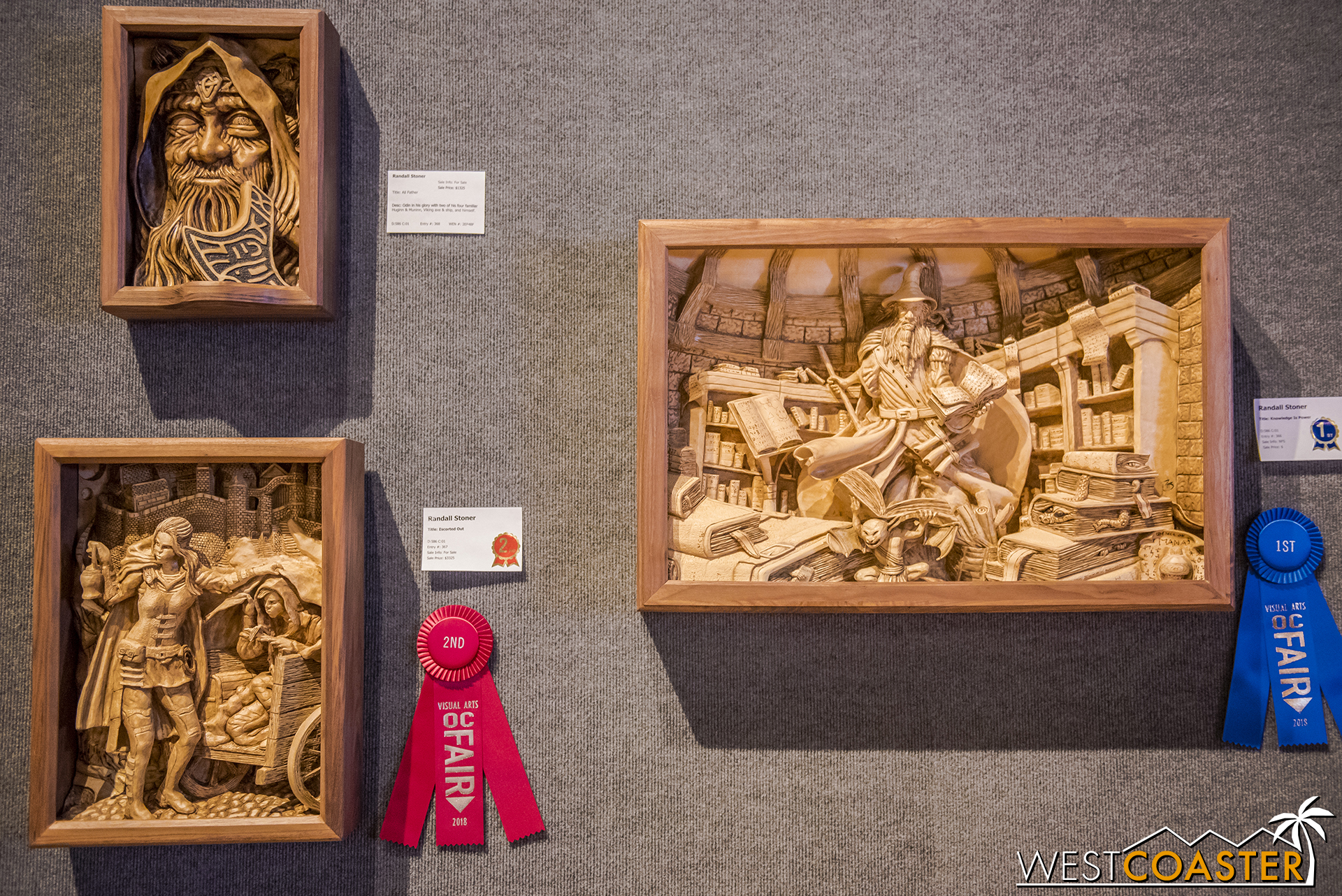 There was also an extensive woodworking exhibit in the same space, on the east side.