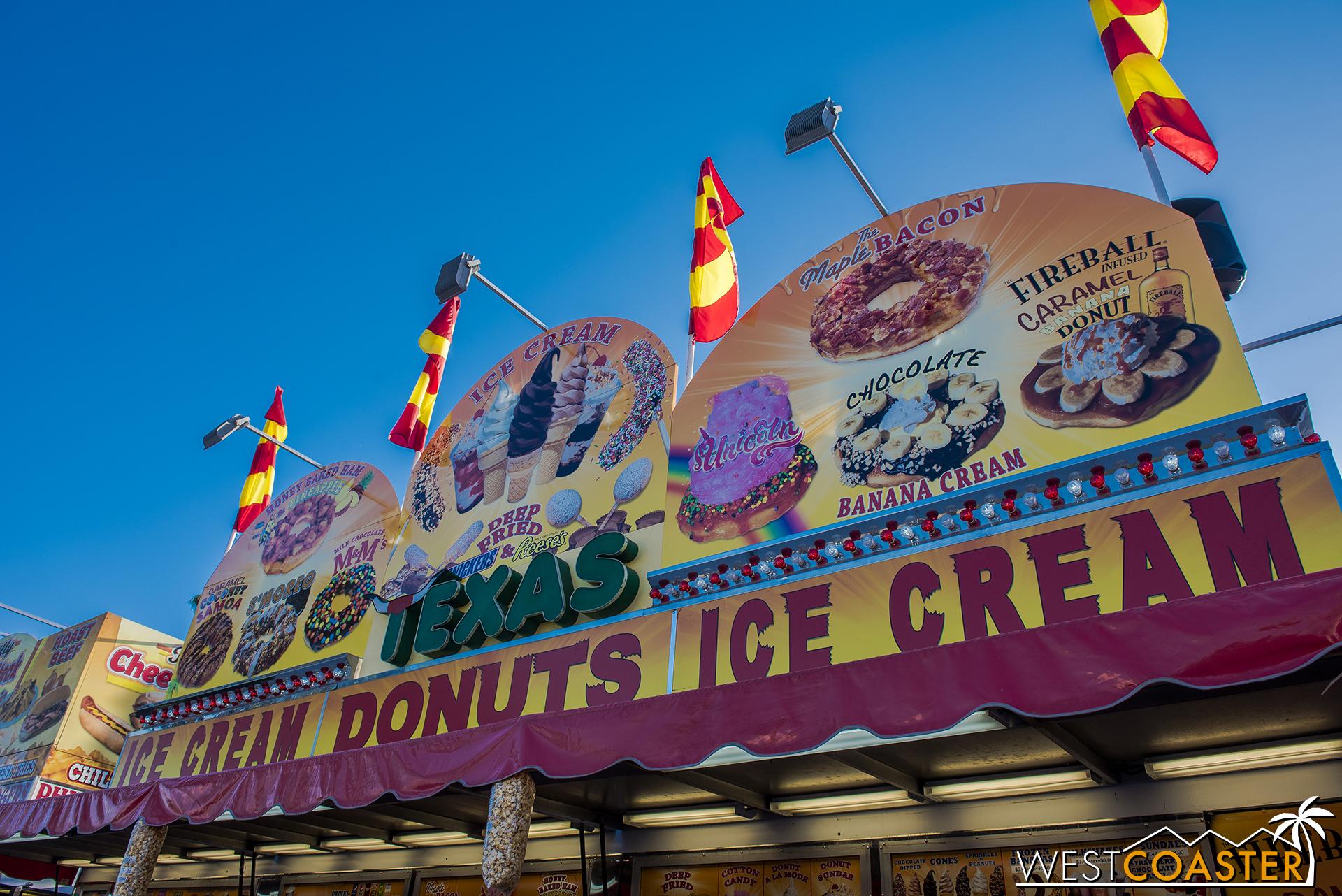 Texas Donuts, in the Main Mall central promenade, has a Unicorn Donut.  Cuz unicorns.