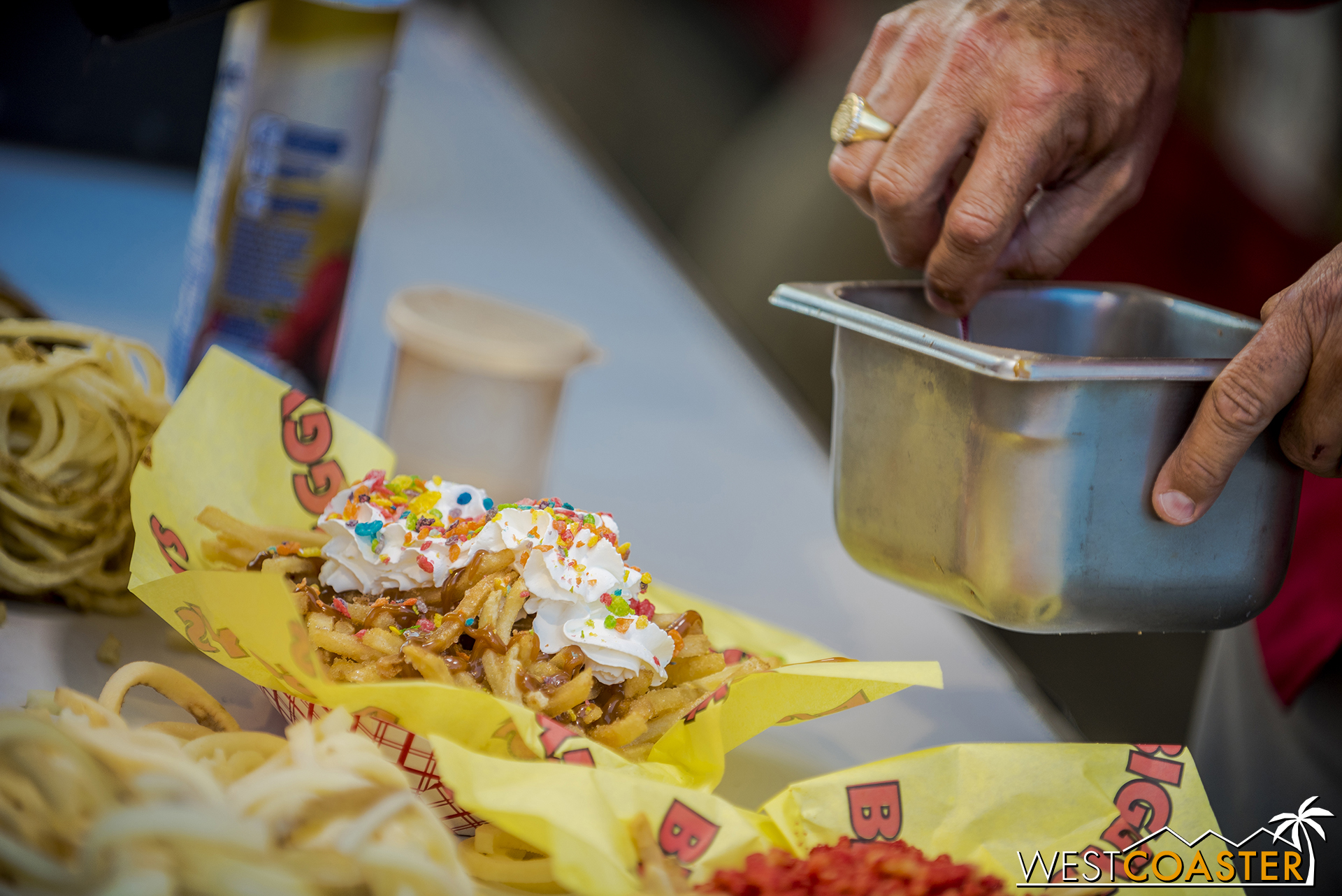 Actual French fries, covered in sugar and cinnamon and caramel and whipped cream and Fruity Pebbles.