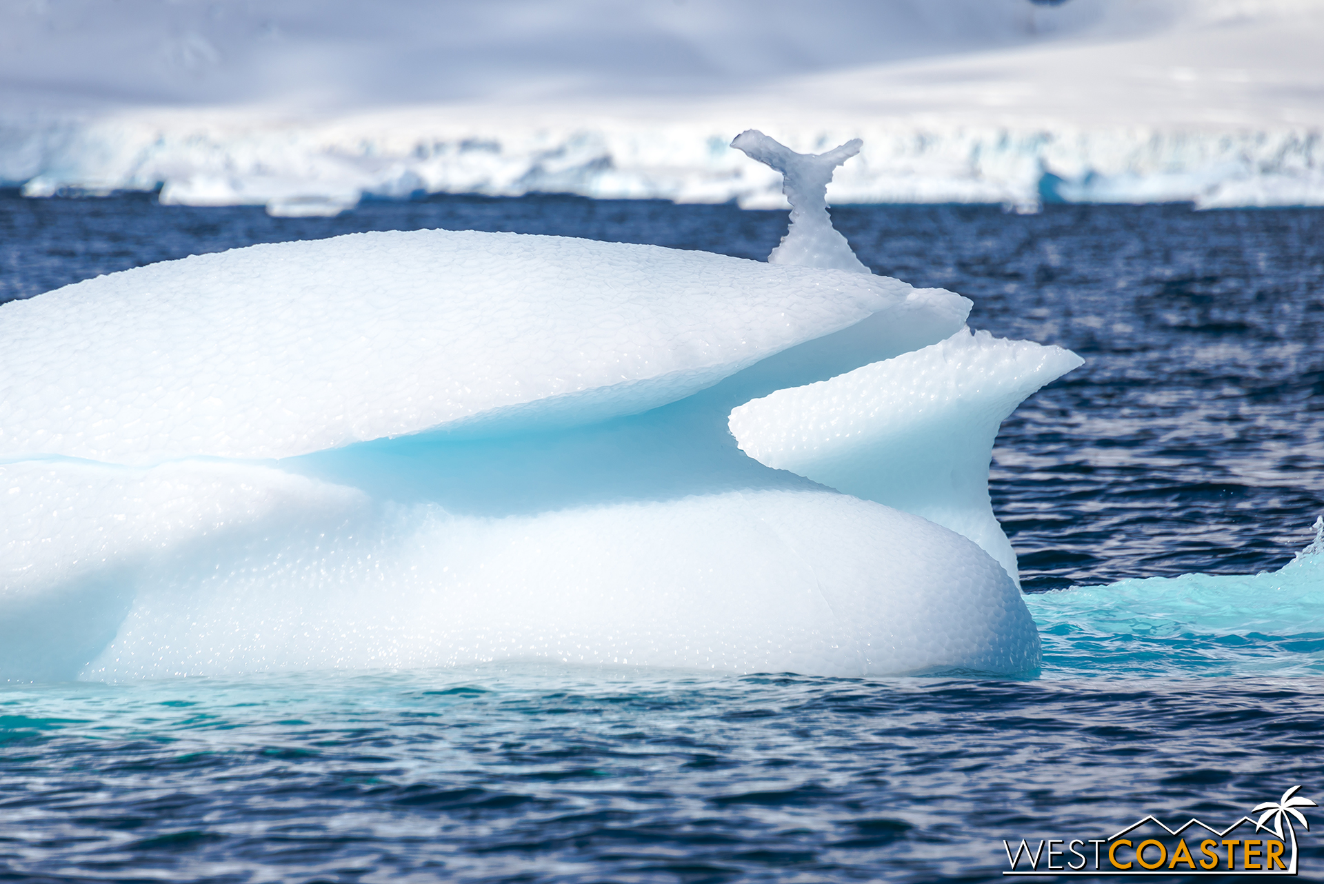 Nature has a sense of humor, so in addition to real whales, there are icy versions. Or at least an iceberg that looks like it has a small whale's tail on top.