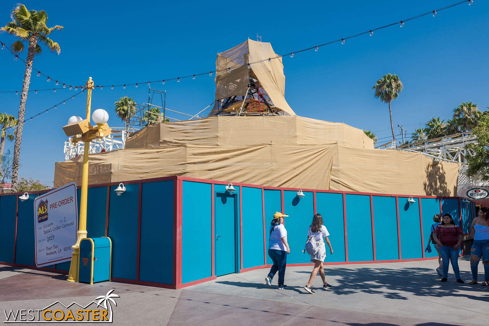 Despite the hot summer, the carousel is being covered up more and more, left to swelter in the sun.