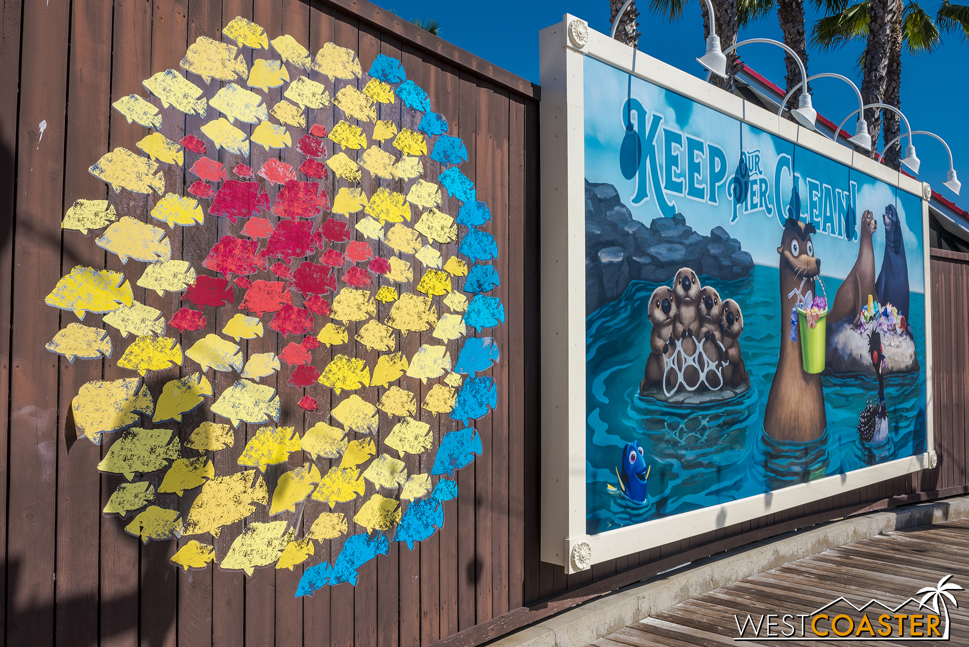 This was added to the wall by the Pixar Pier turnaround over the Incredicoaster launch.  It looks temporary, but cute.