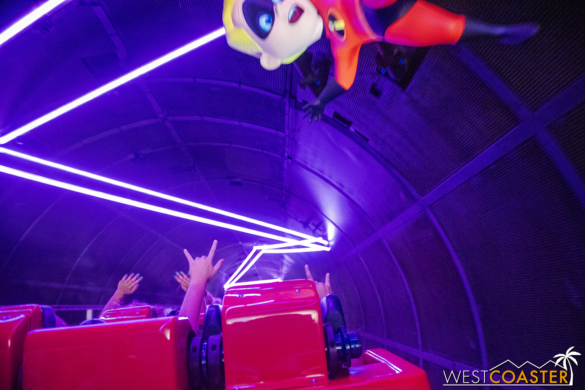 We launch into the first scream tunnel and find Jack Jack shooting lasers.