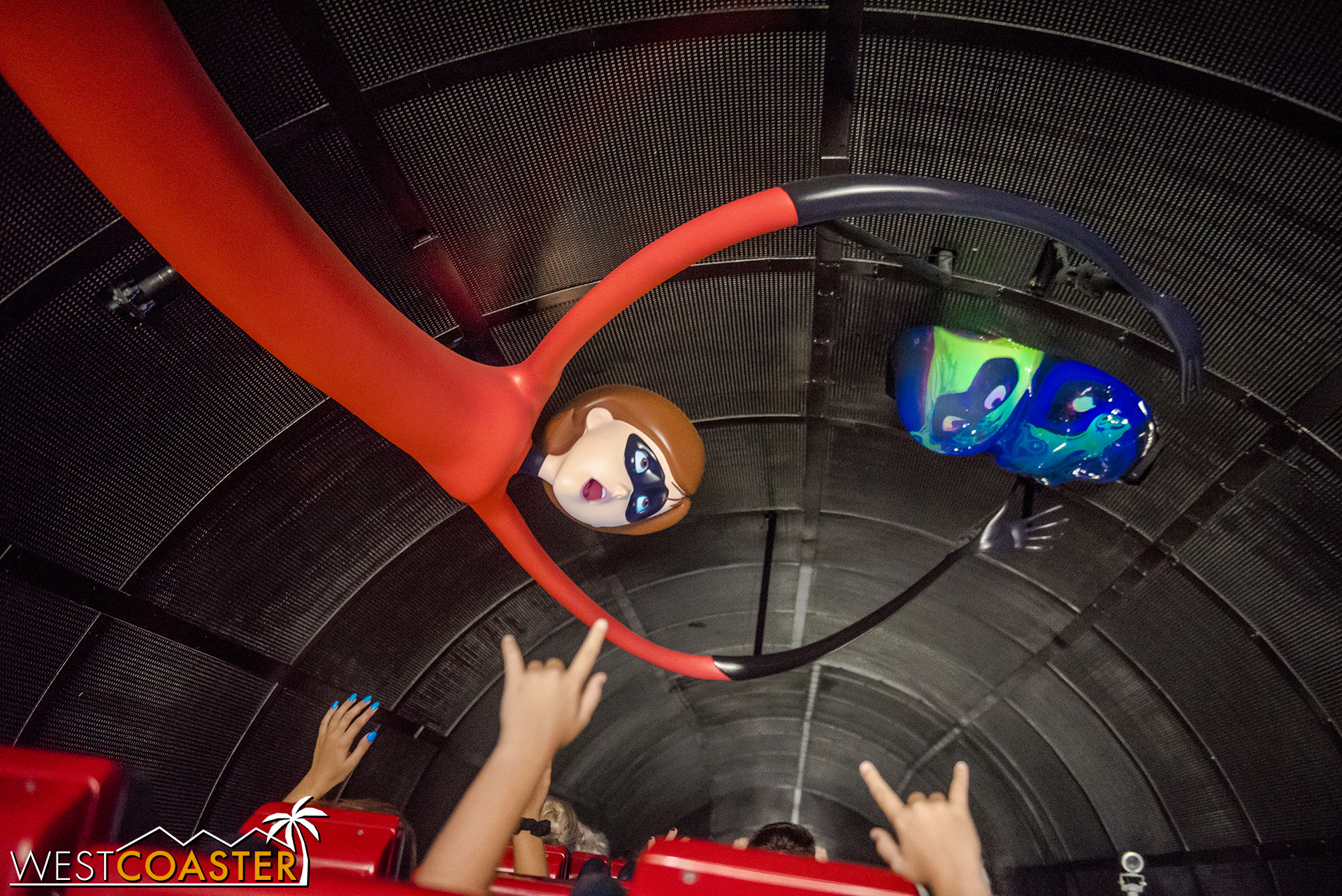 In the middle tunnel, going up the lift hill, Jack Jack goes gooey.