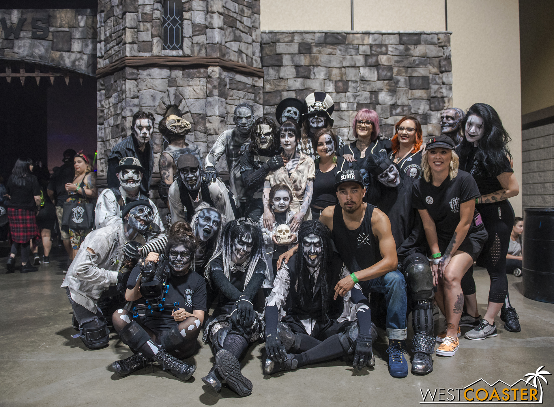 A group photo in front of the Castle Frankenstein entryway by CalHaunts.