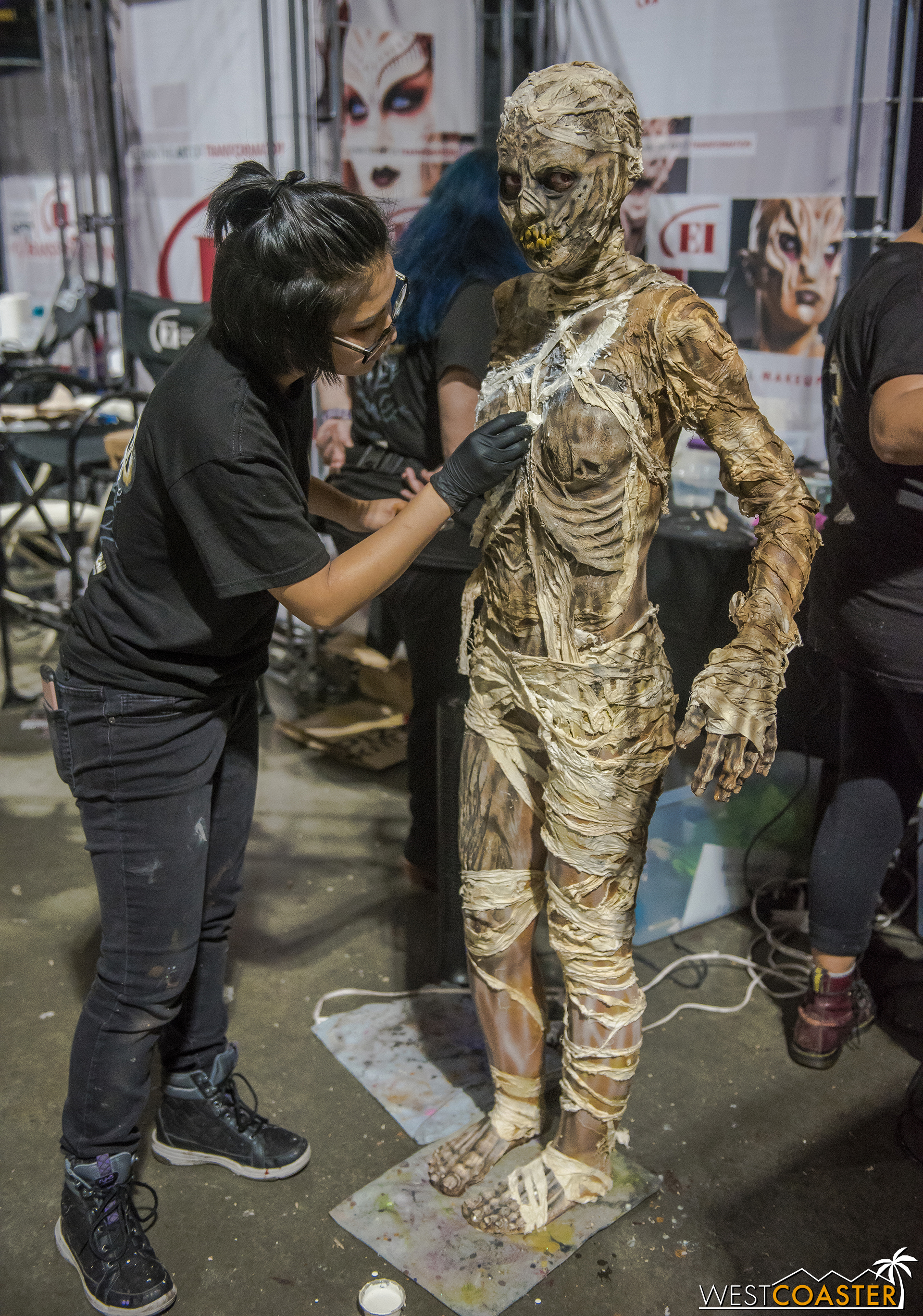 Makeup and prosthetics demonstrations abounded, with many models spending hours being done up into hideous and grotesque creatures.