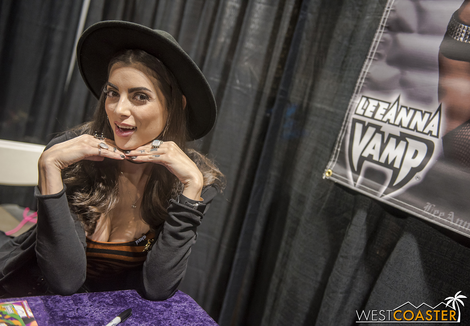 Actress and cosplayer Leeanna Vamp had a booth all weekend sell merchandise and meet fans.