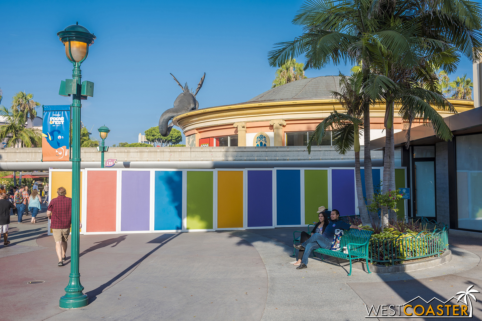 Here's the walled off area under the monorail we referenced last update.