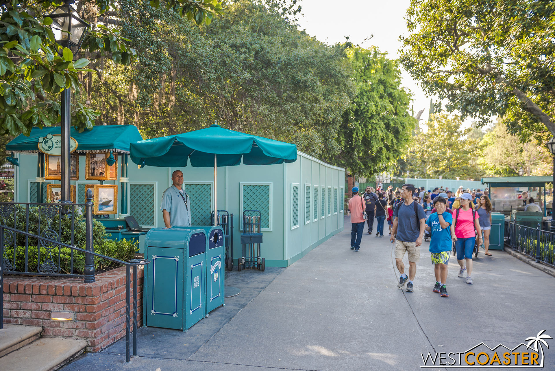 Planters under refurbishment in the foreground.  Haunted Mansion under refurbishment in the background.