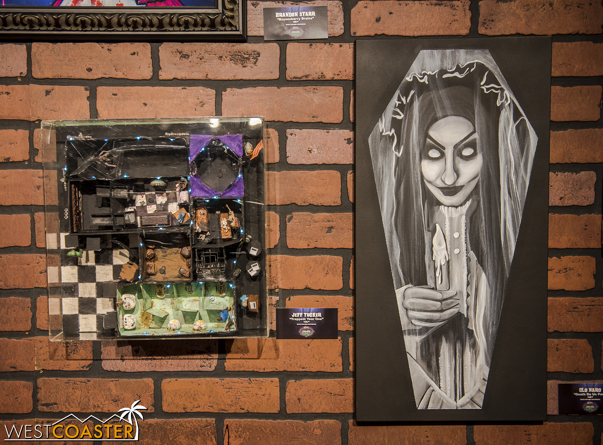 Oh look, Jeff Tucker has a piece too! It's a model of Trapped.  And on the right, a self portrait by The Bride.