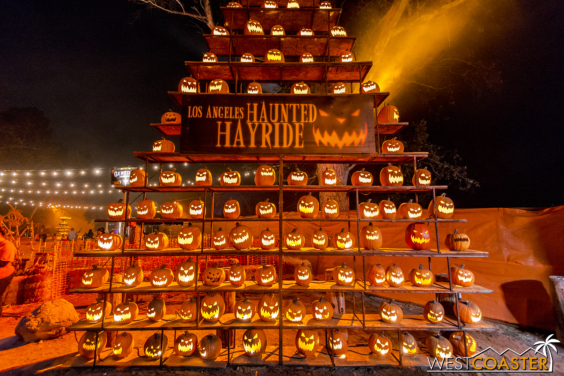 A tower of jack-o-lanterns at the L.A. Haunted Hay Ride.