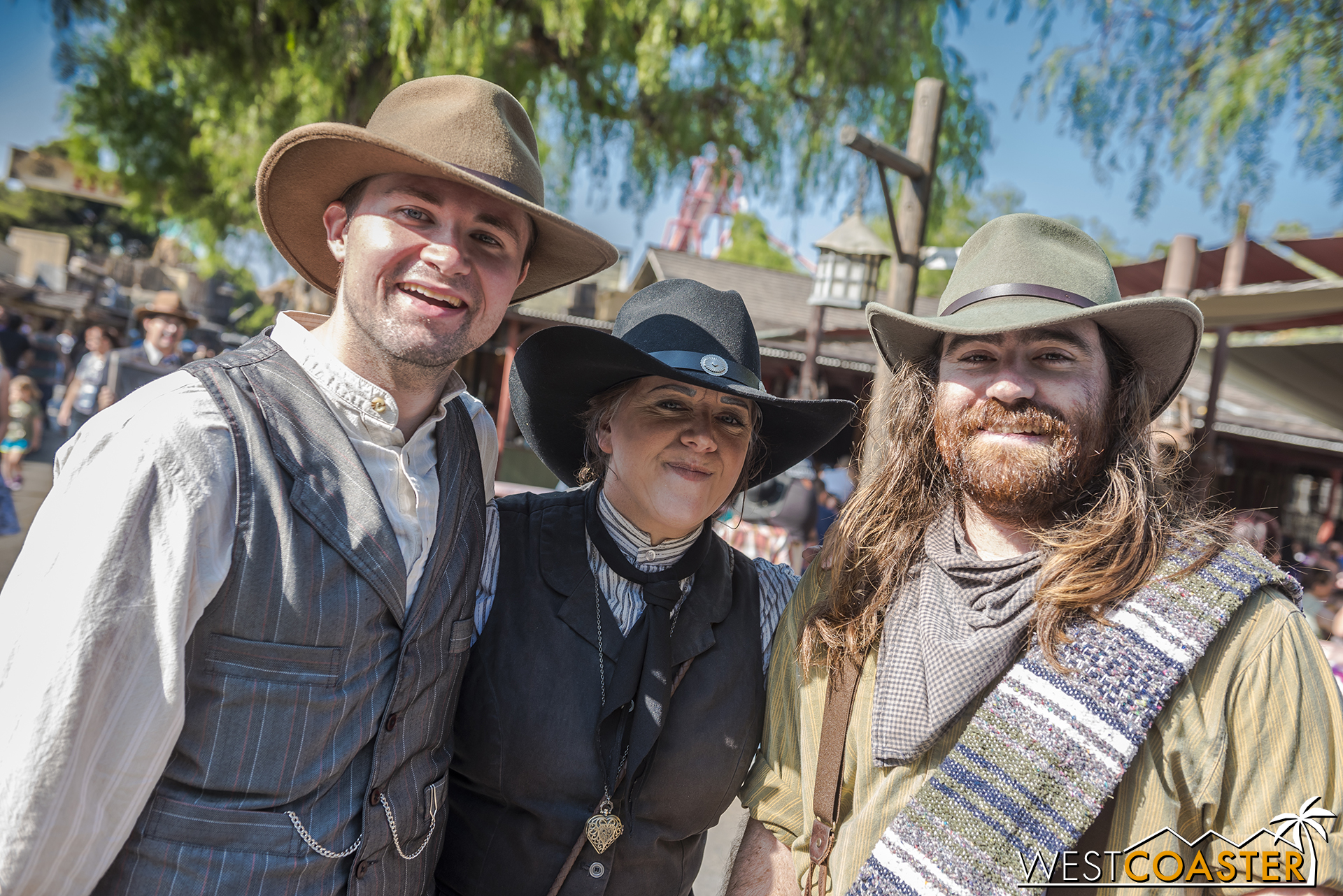 """Phyllis """"Ma"""" Mayfield poses with her two ranch hands, """"No Name"""" Cunningham on the left and """"Dead Eye"""" Jackson on the right."""
