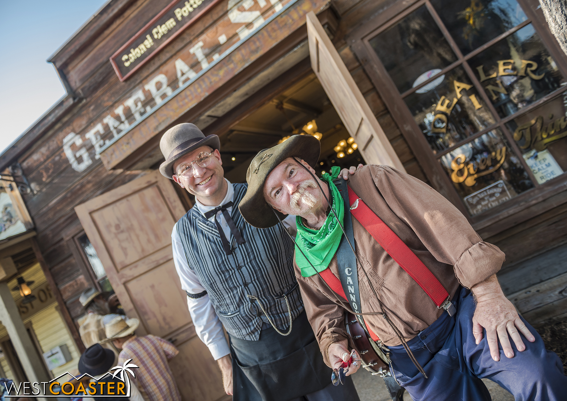 """Colonel Clem Potter, purveyor of the General Store, and Calico musician """"Cannonball"""" pose in front of said General Store."""