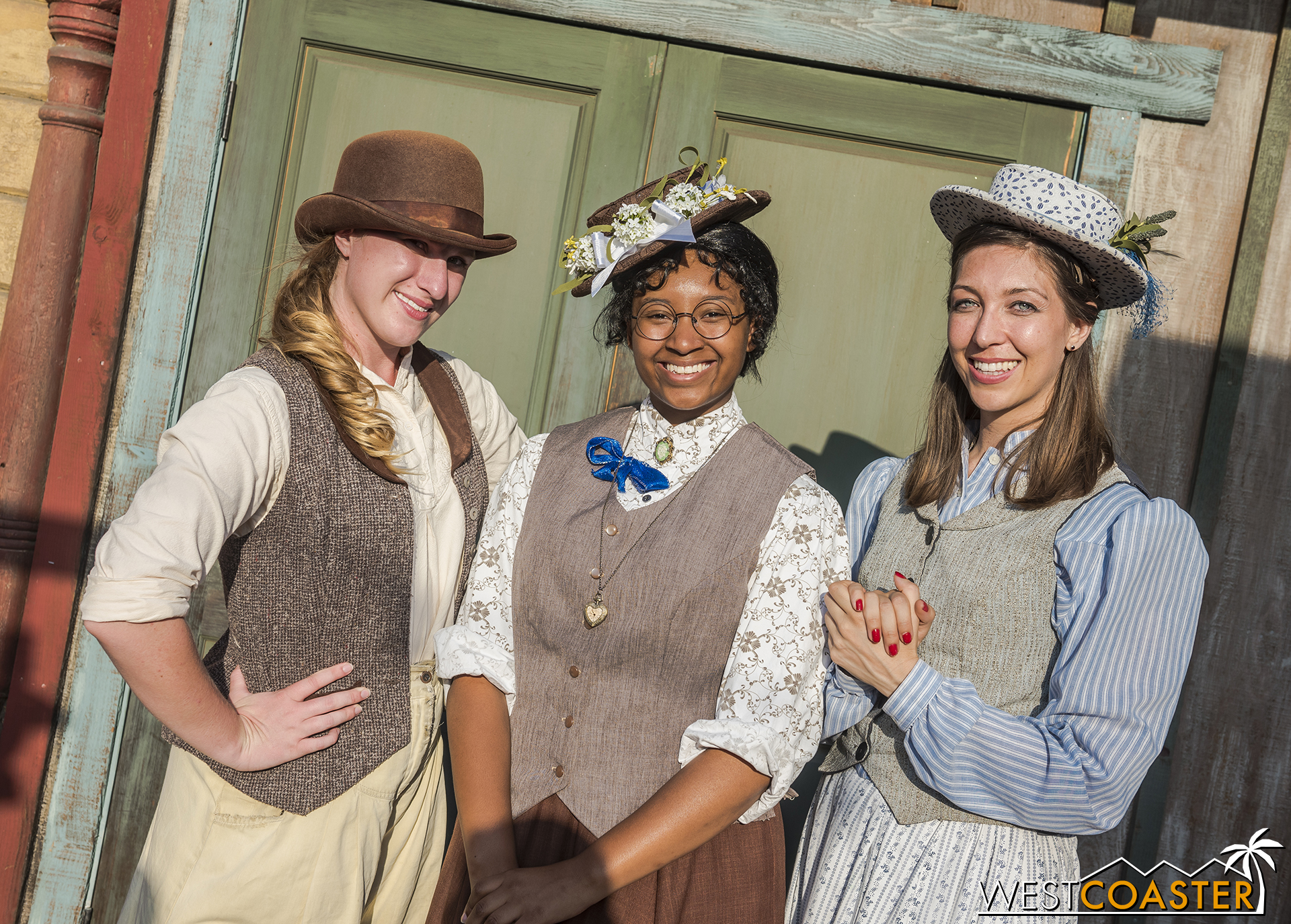 From left to right,  Calico Gazette  reporter, Izzy Malloy, schoolteacher, Marybelle Starling, and Miss Sierra pose for a photo.