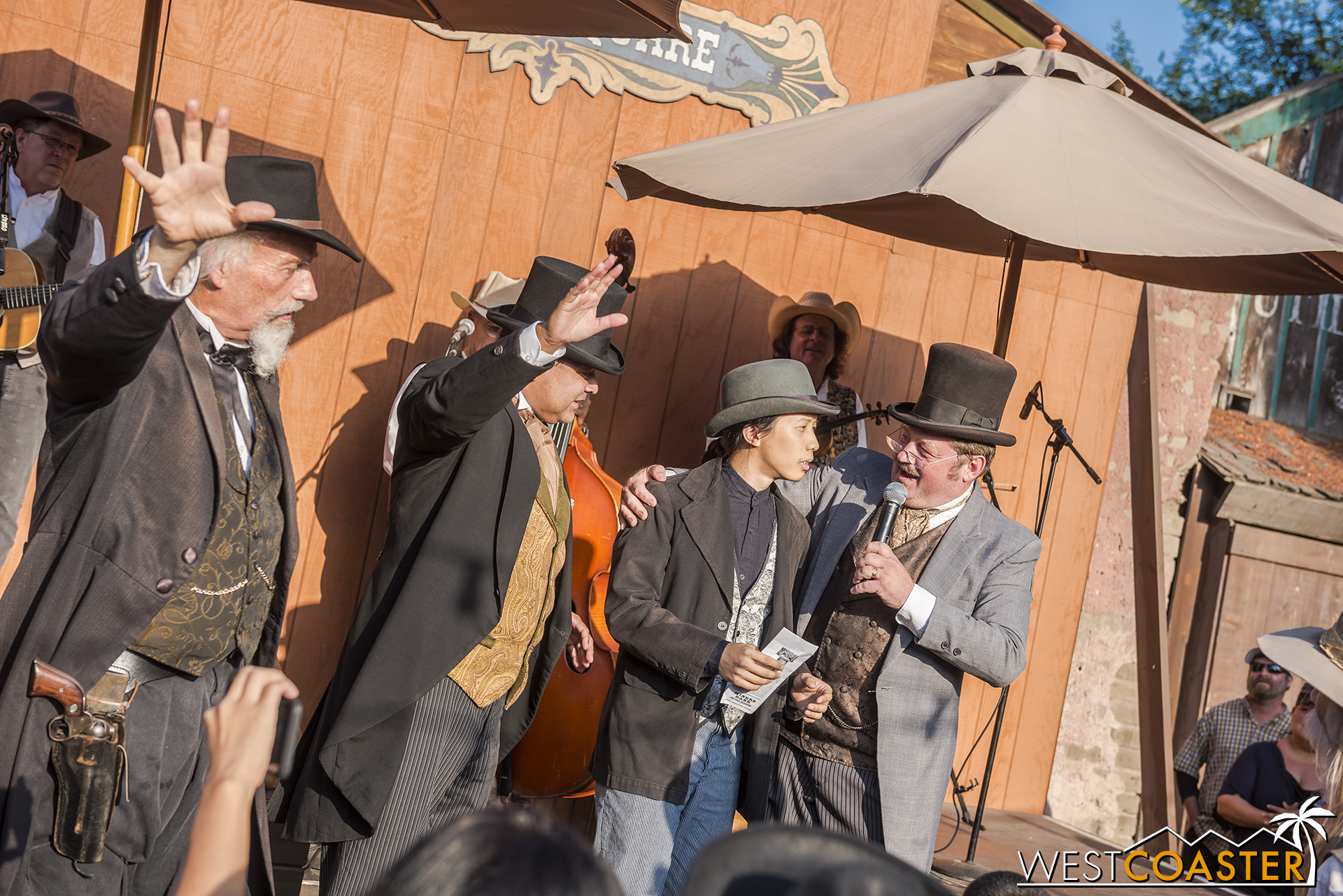 As Judge Bean and Mayor Parnell call for quiet, Deputy Mayor Howell asks Lee how he feels about being revealed as a descendant of a town founder and rightful owner of the deed and town of Calico.