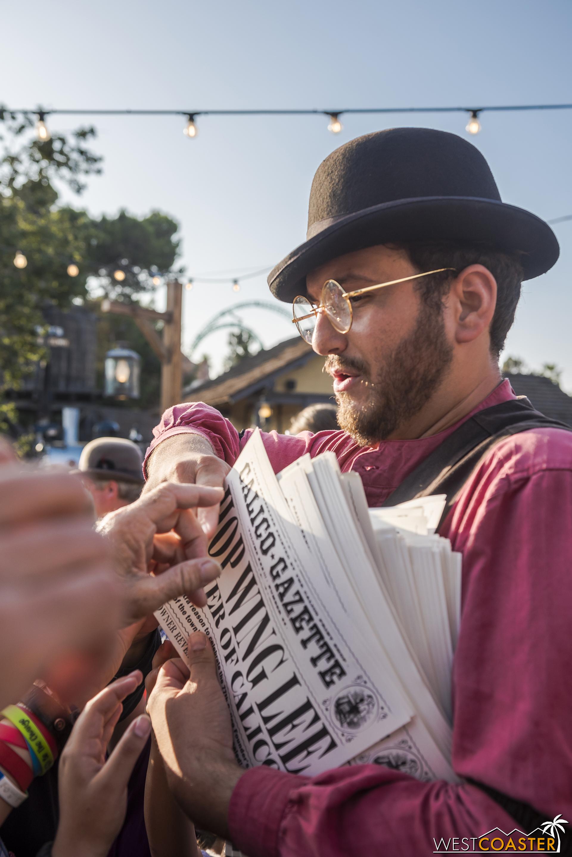 And hot off the press, Bixby Knolls distributes a bonus edition of the  Calico Gazette  proclaiming the big news.