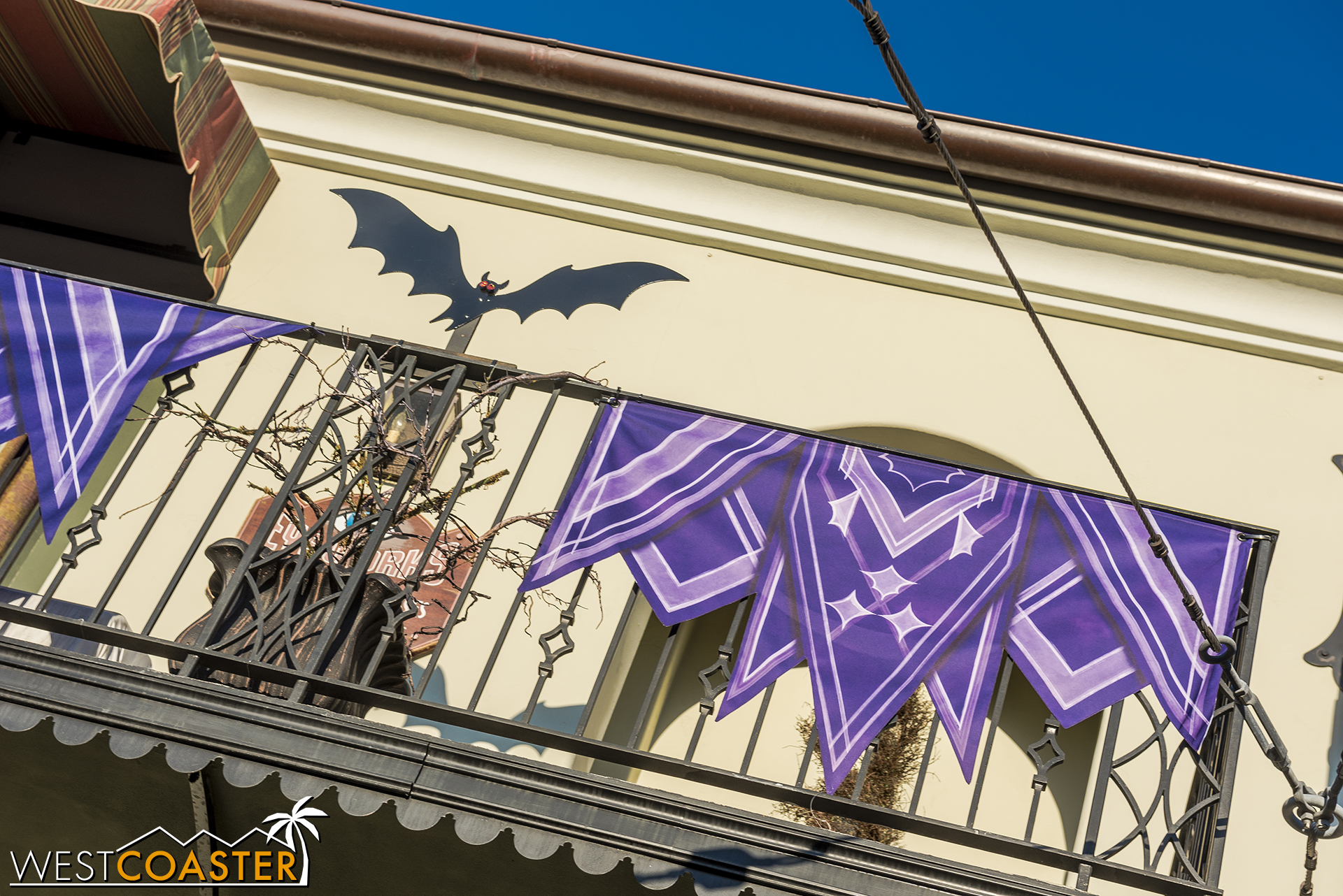 There are bats and purple banners and bunting everywhere.