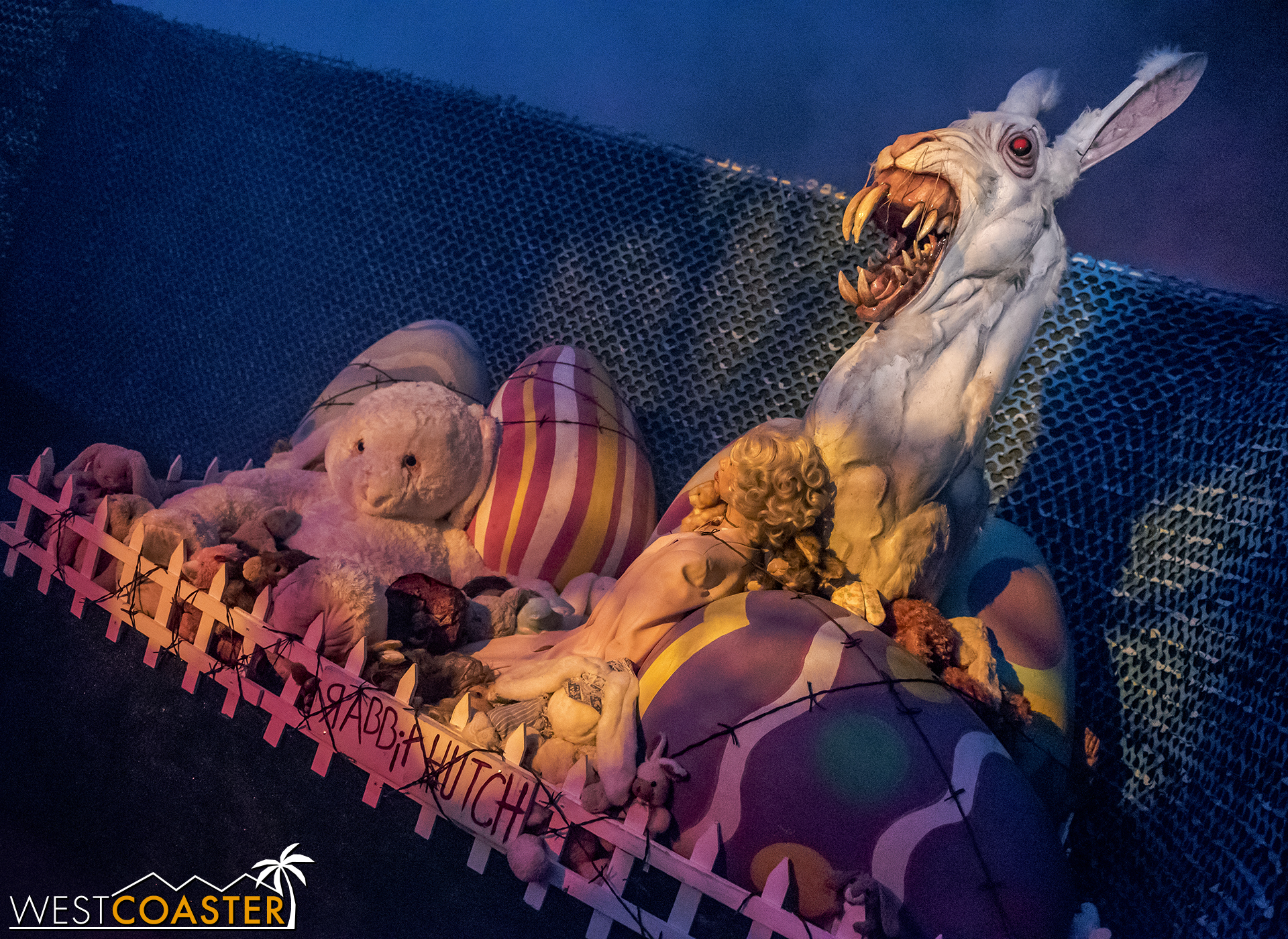 This demented Easter bunny is one example of the warped sense of humor throughout the Holidayz in Hell scare zone.