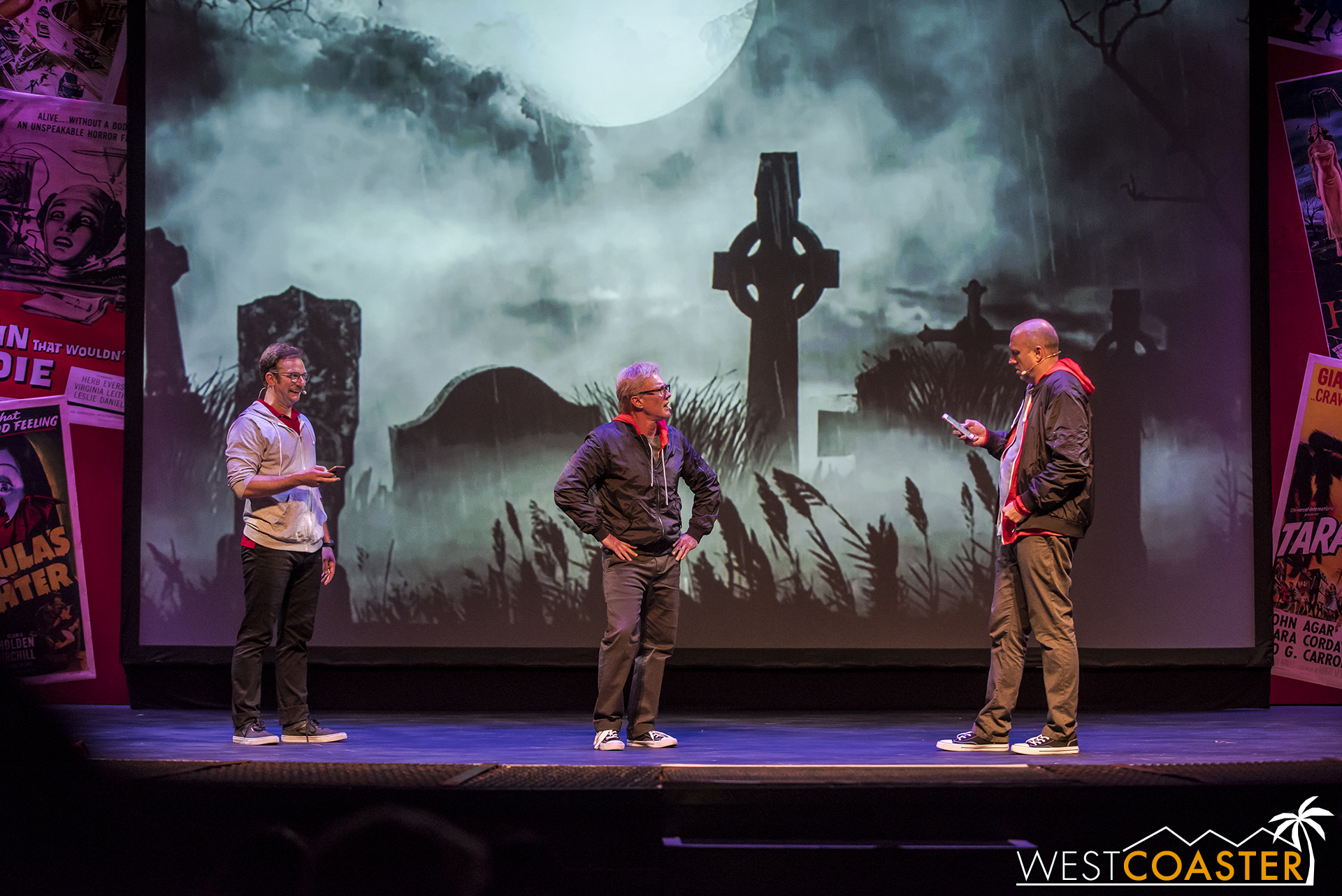 In the final game of this particular show, the actors took part in a graveyard scene but inserted lines from text messages borrowed from audience members.