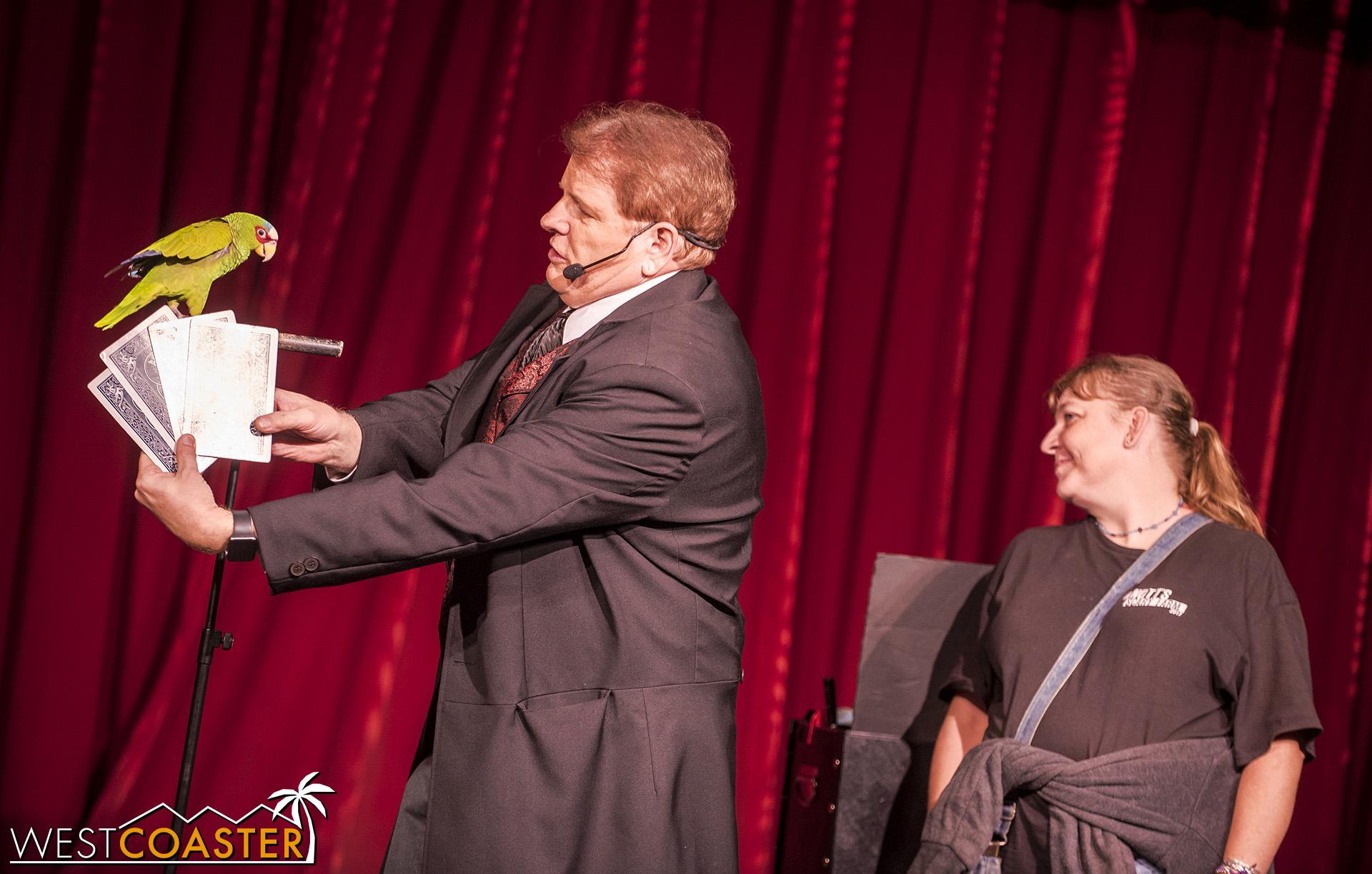 Magician Dana Daniels, helping his bird perform a card trick.