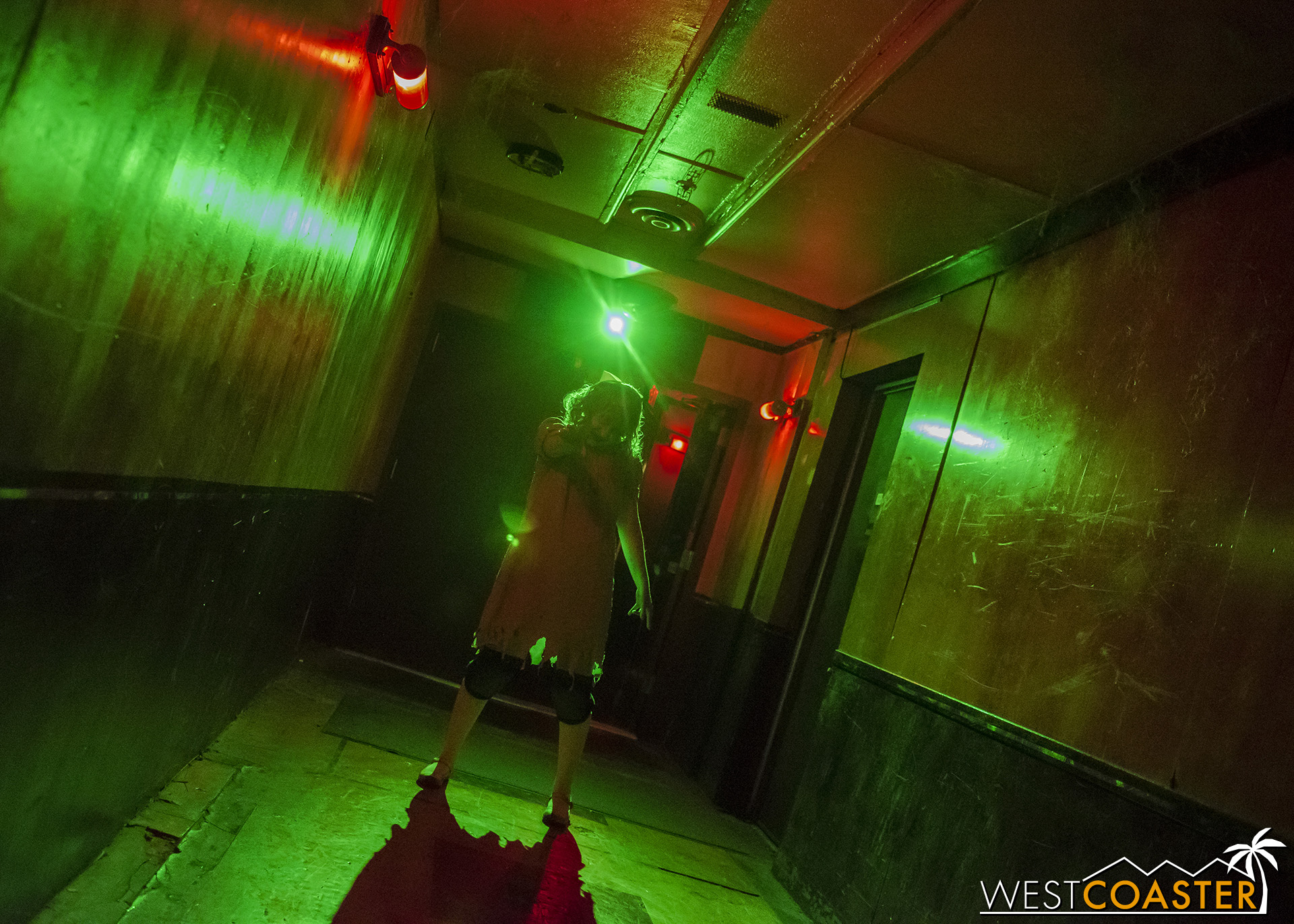 Imagine a ghostly demonic child at the end of a hallway, dimly lit, revealed only by the occasional pulse of a green strobe.