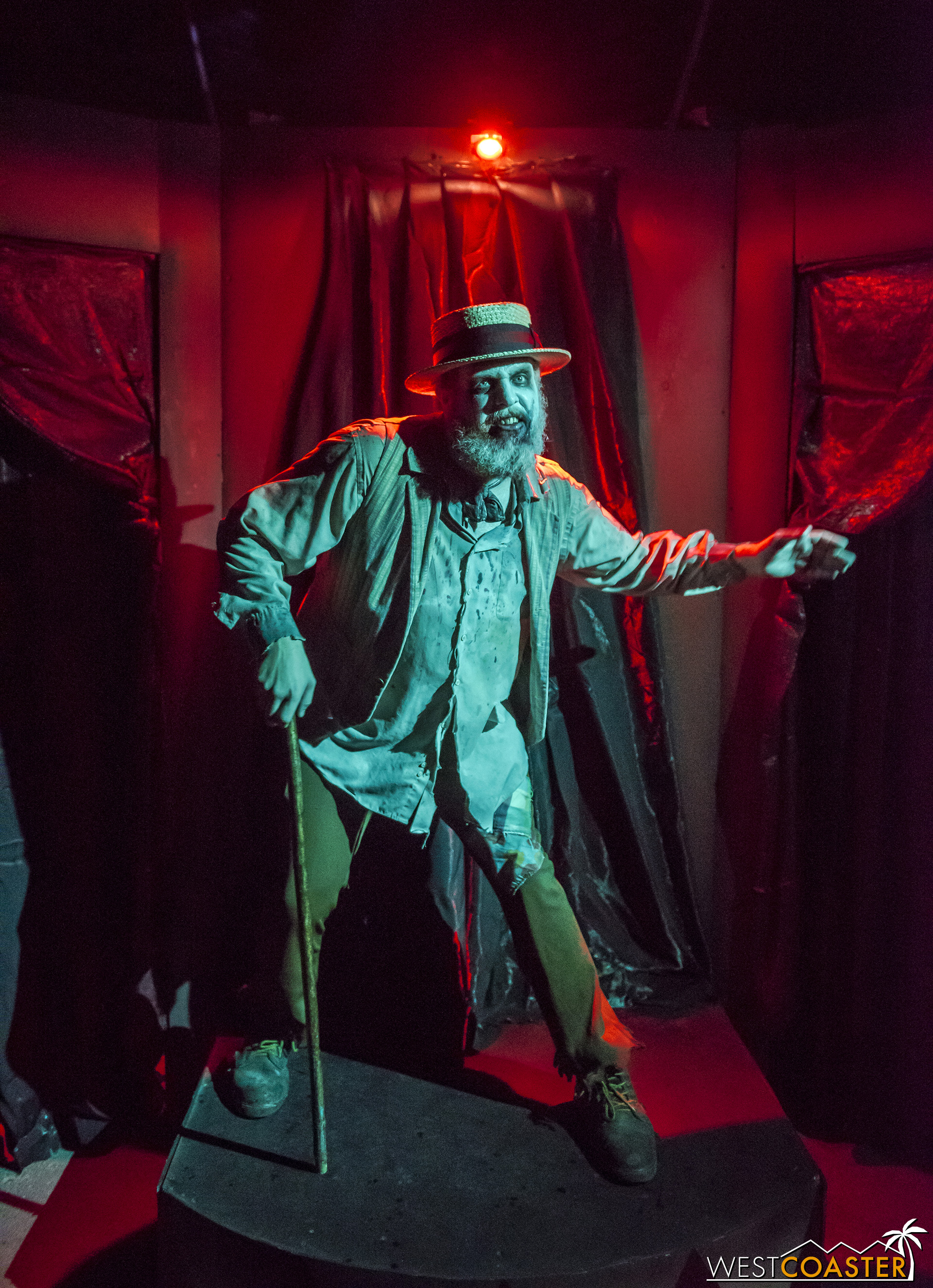 A barker heralds a branch in Circus, where guests can go one of two directions and encounter a different experience in each.