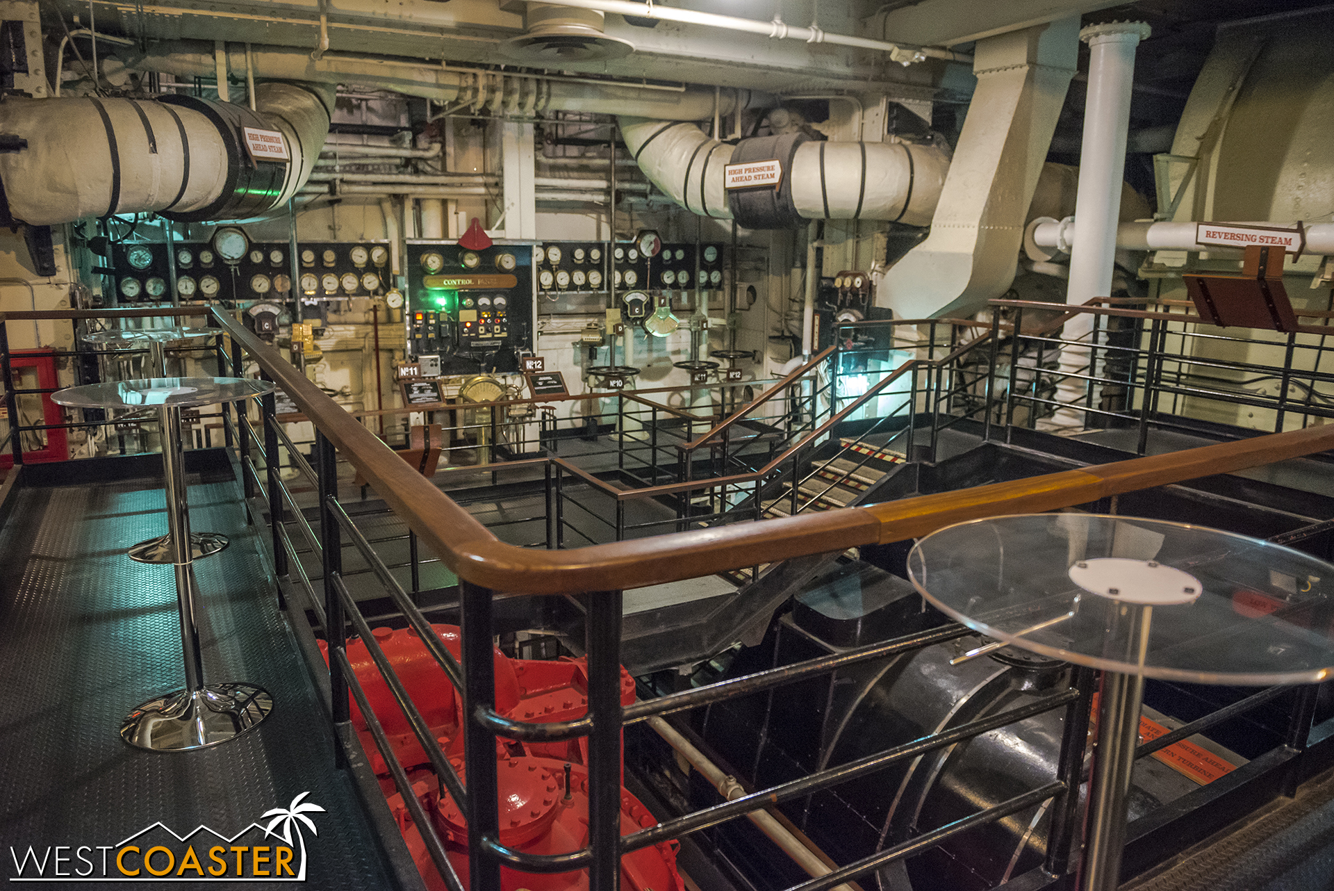 You get a nice view of the Queen Mary's engine room while sipping your potable.