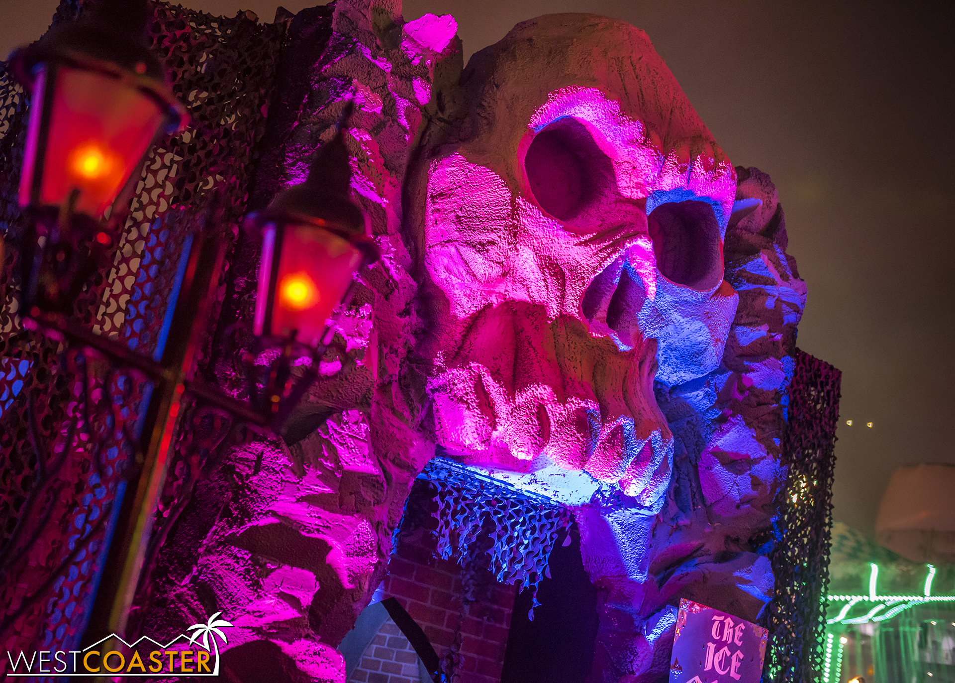 This magenta skull marks the Ice Cave ice bar.