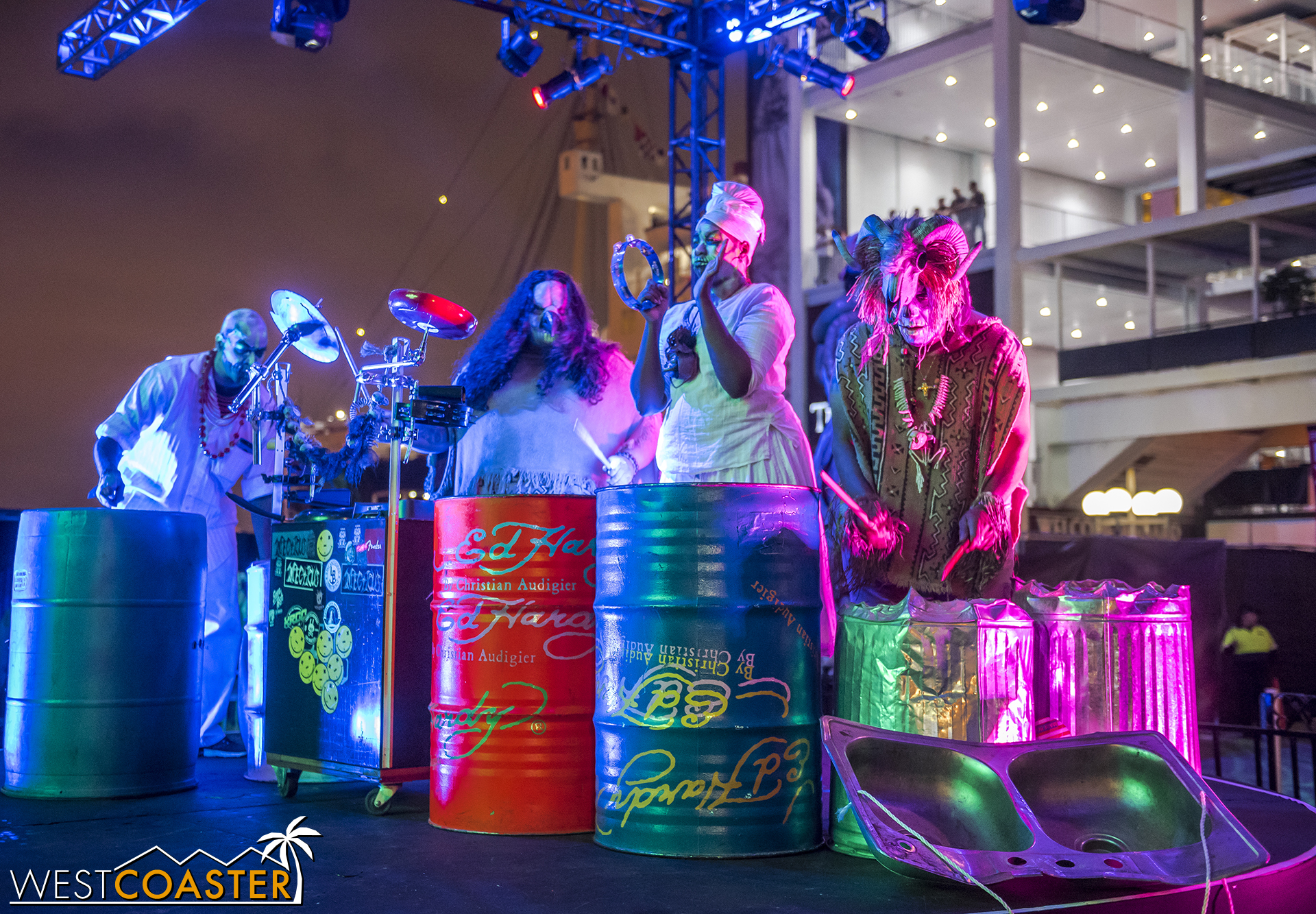 These voodoo drummers roam all around Dark Harbor.