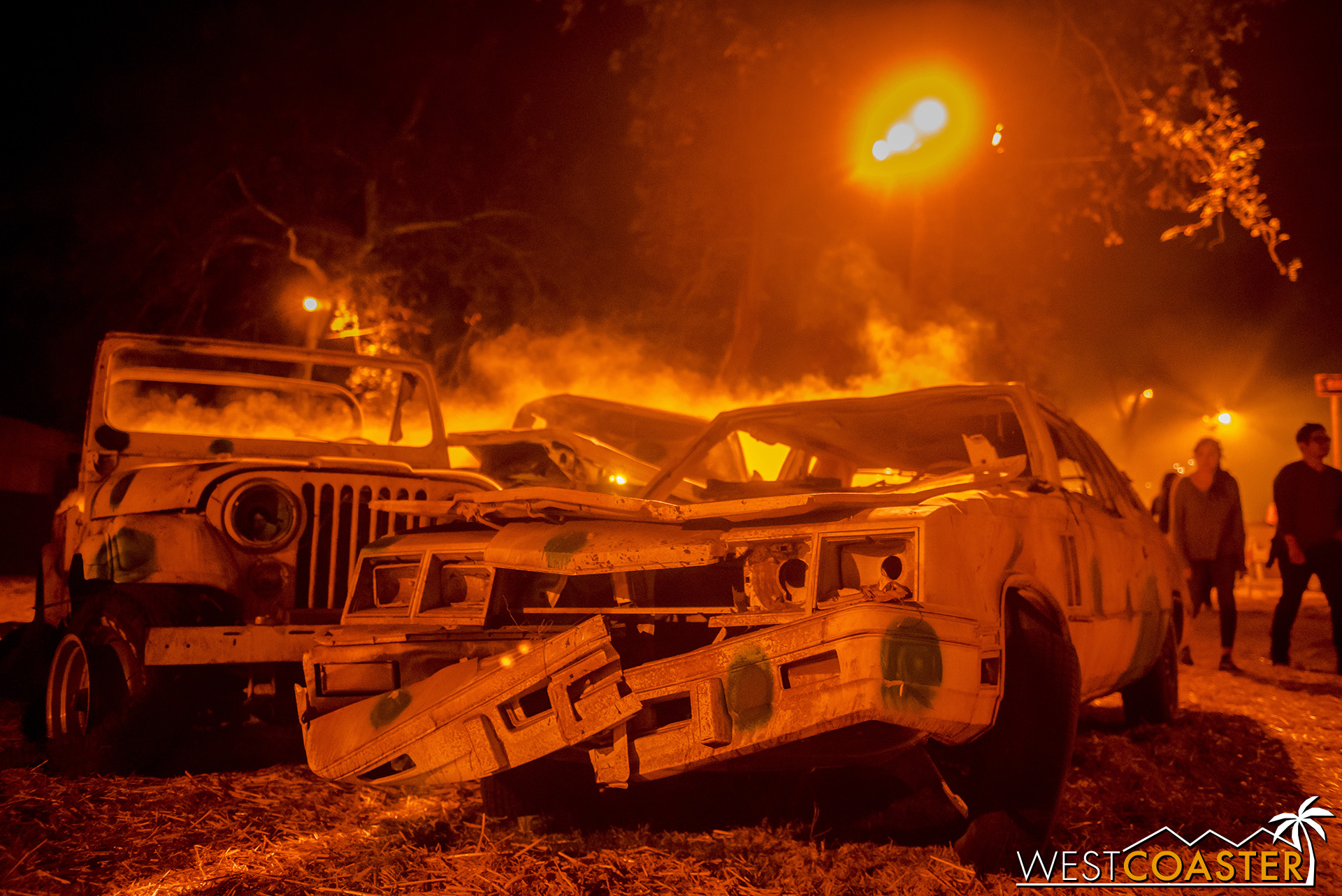 These cars appear to be in a bit of limbo in Purgatory at the L.A. Haunted Hayride.