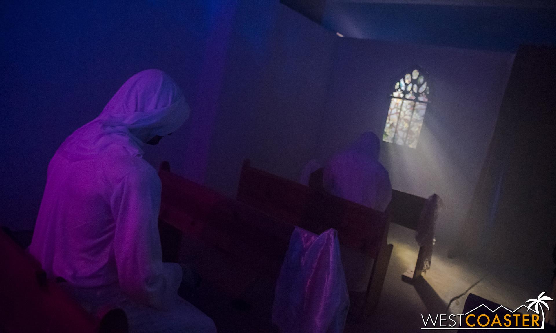 Rolling into a spooky church scene.