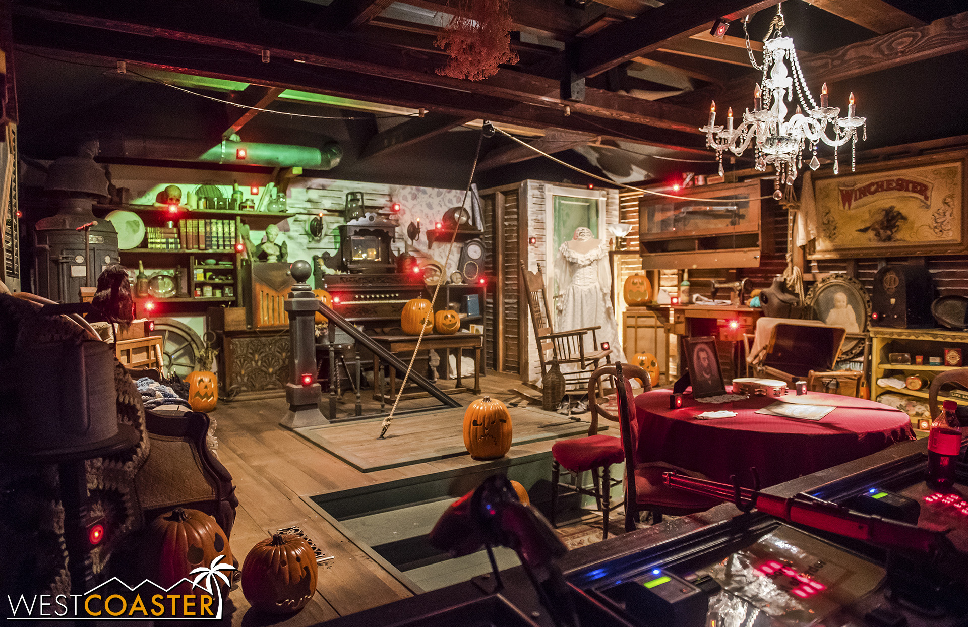 """The """"Sarah's Attic"""" shooting gallery, decked out for Halloween!"""