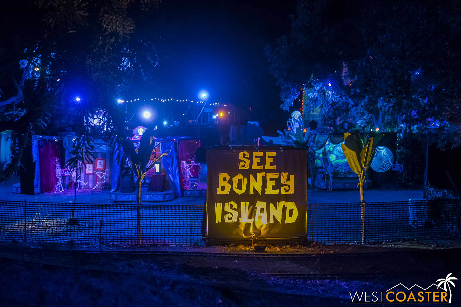 The train winds around Boney Island near the end of its run, giving guests a glimpse of the neighboring attraction.