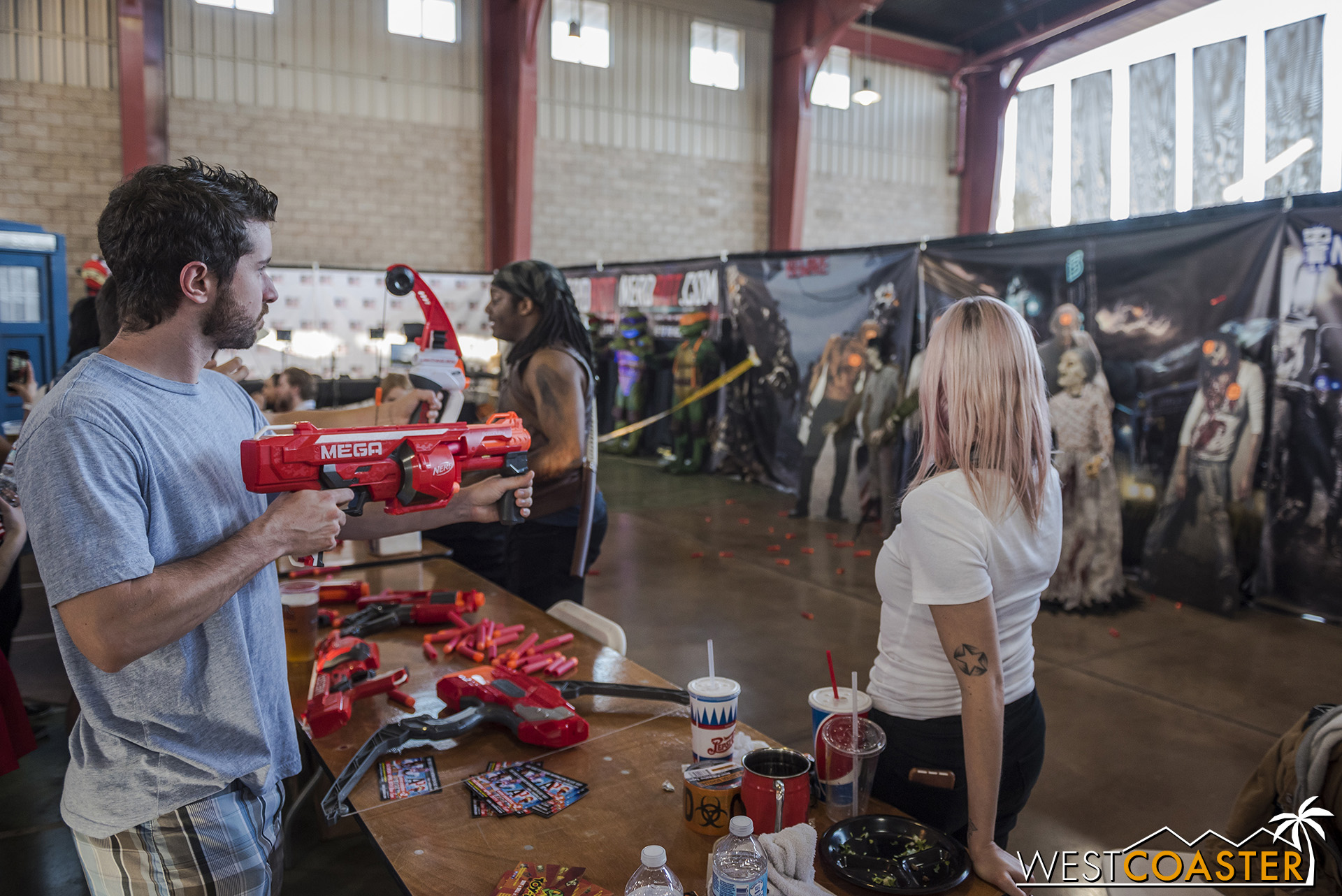 The OC Promenade—home to the culinary arts exhibits during the OC Fair—played host to Machinima and NerdBot sponsored video game, joust, and zombie Nerf shooting attractions.