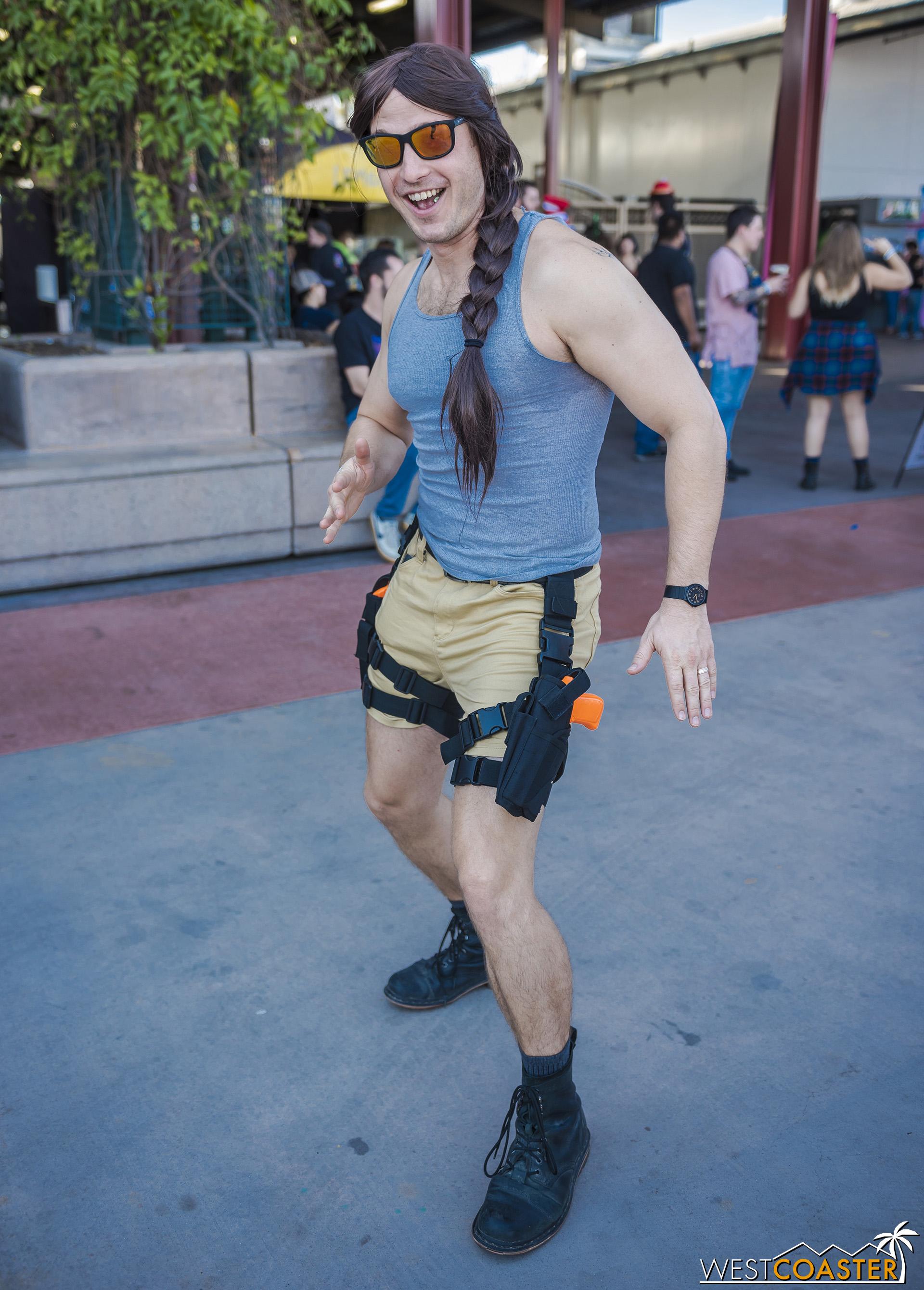 """Lara Croft (""""Lars"""" Croft?) strikes a pose."""