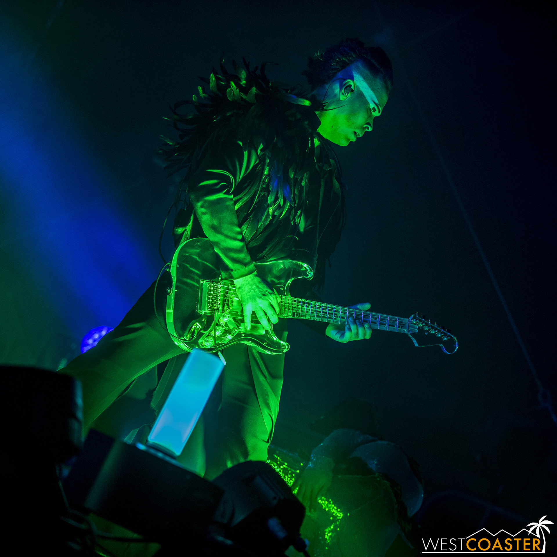 Luke Steele and his see-through guitar.