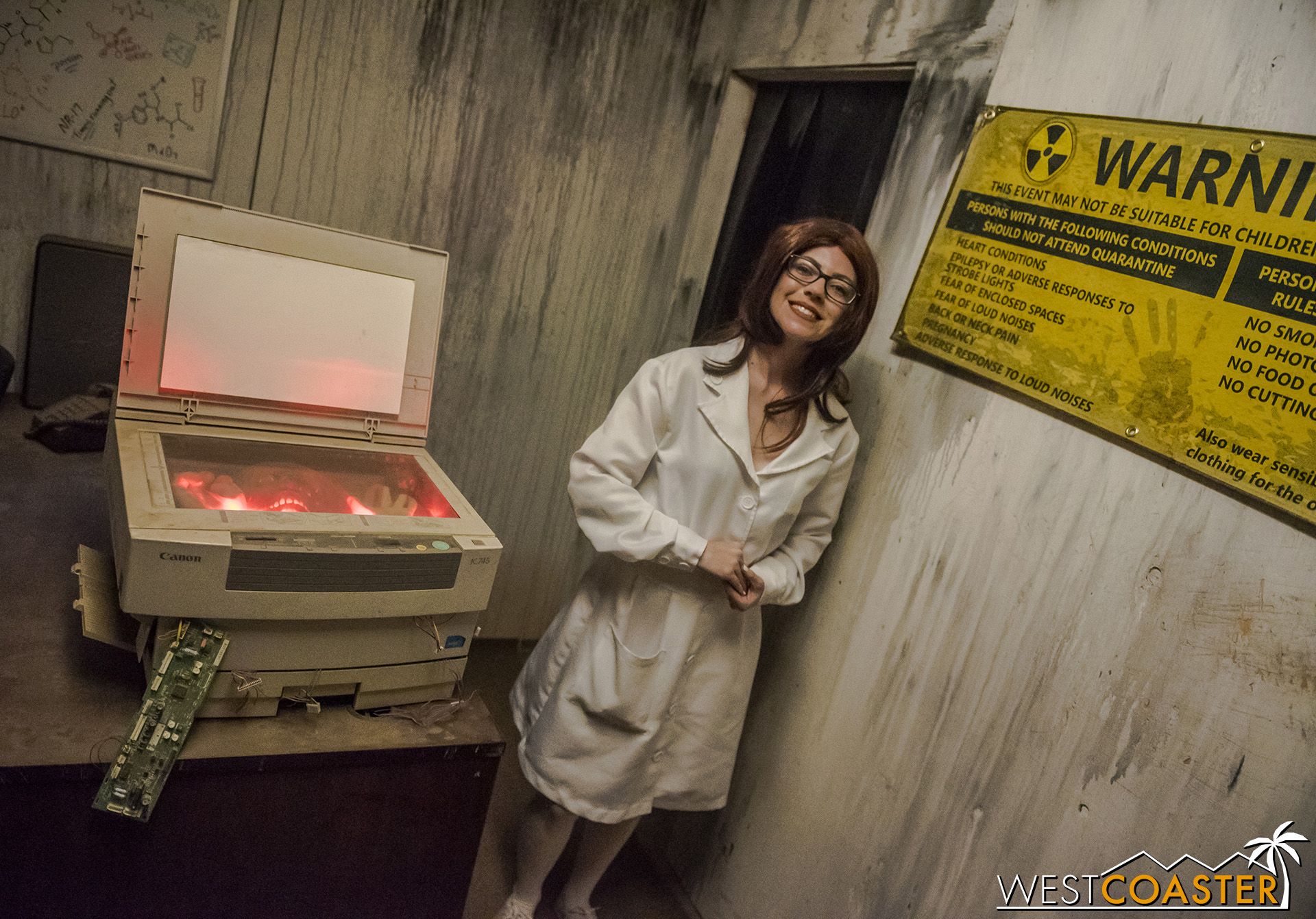Welcome to the quarantine zone! This cheerful official explains the situation and the rules, then sends guests off to their certain doom.