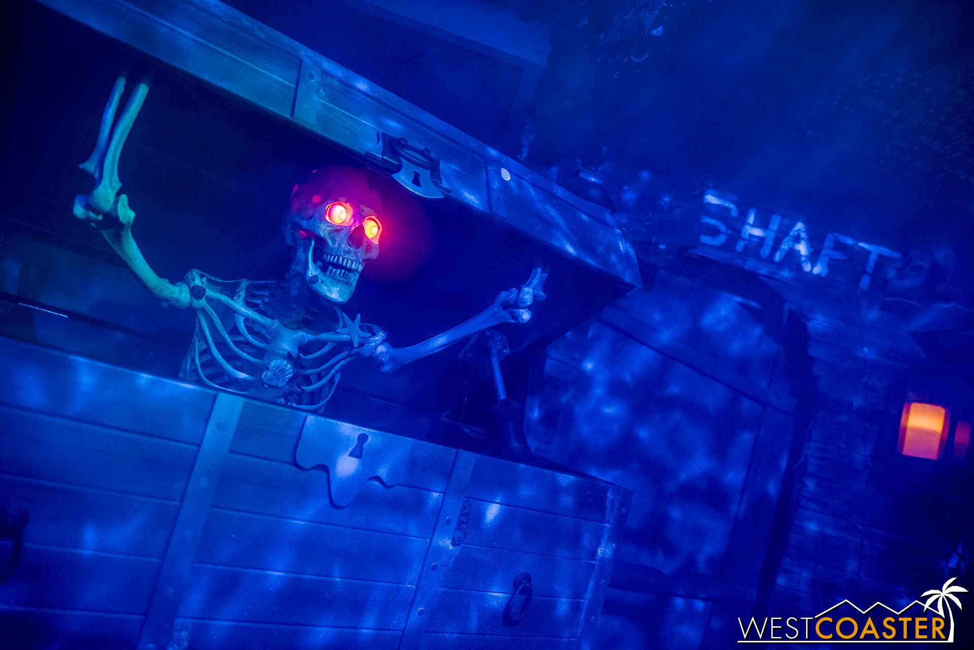 An animatronic skeleton provides the backstory to the maze.
