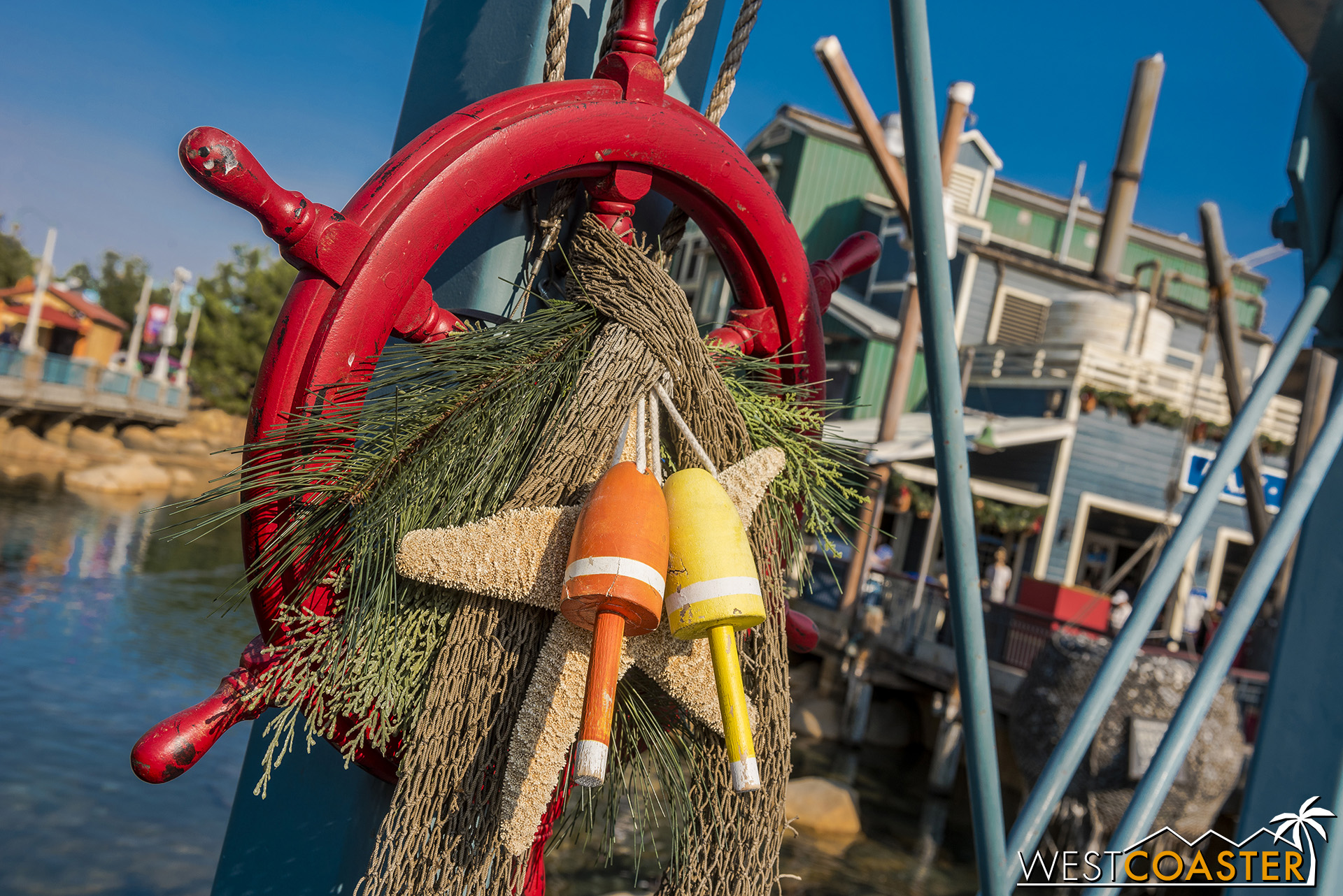 Pacific Wharf has a more rustic take on holiday theming.