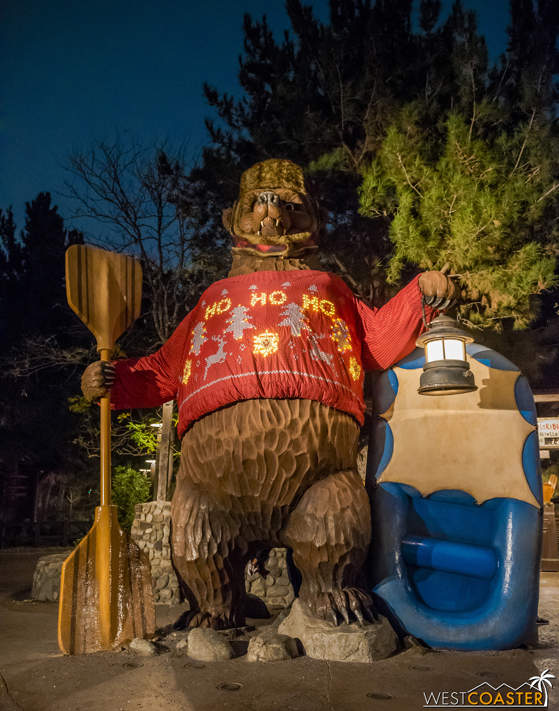 This is literally the best holiday theming in the entire park.  How can you not love a giant ugly Christmas sweater on a giant bear?