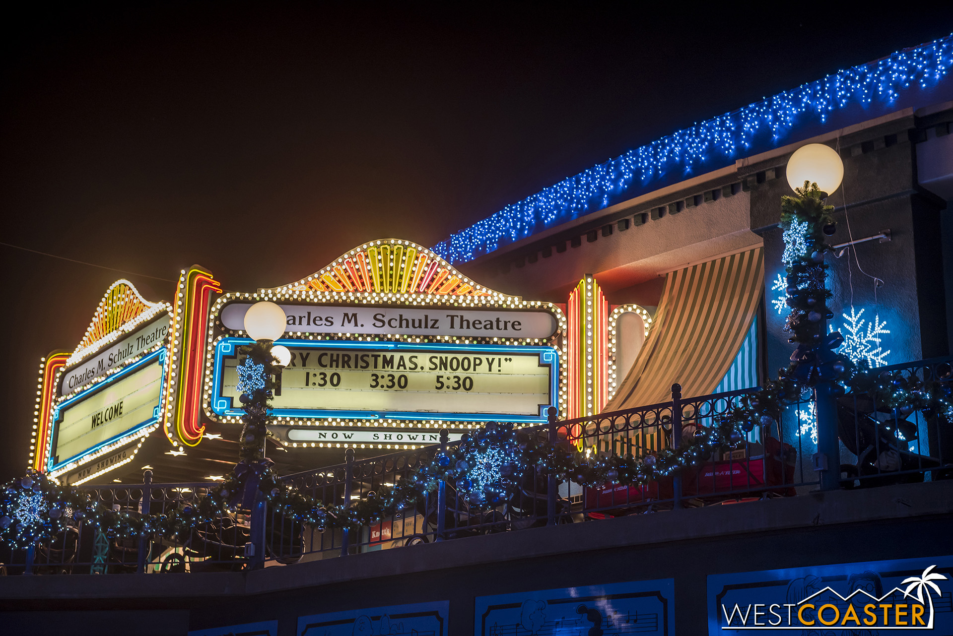 The Snoopy ice show plays three times a day, during the afternoon hours.