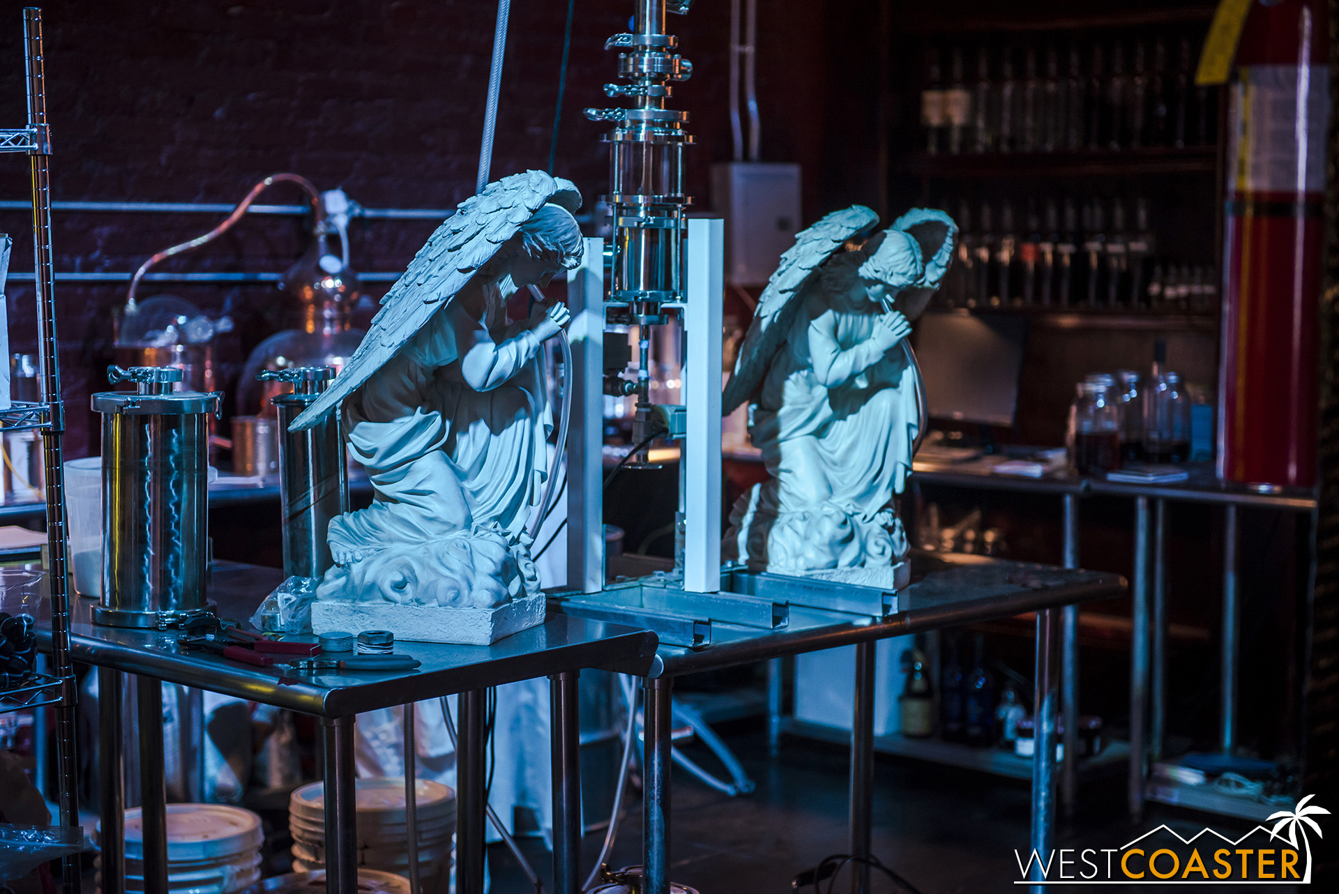 "Evaporation during the aging of whisky was explained in the early days of spirits distillation as losing alcohol to the ""angel's share."" Lost Spirits has taken a sarcastic reference to this in their lab."