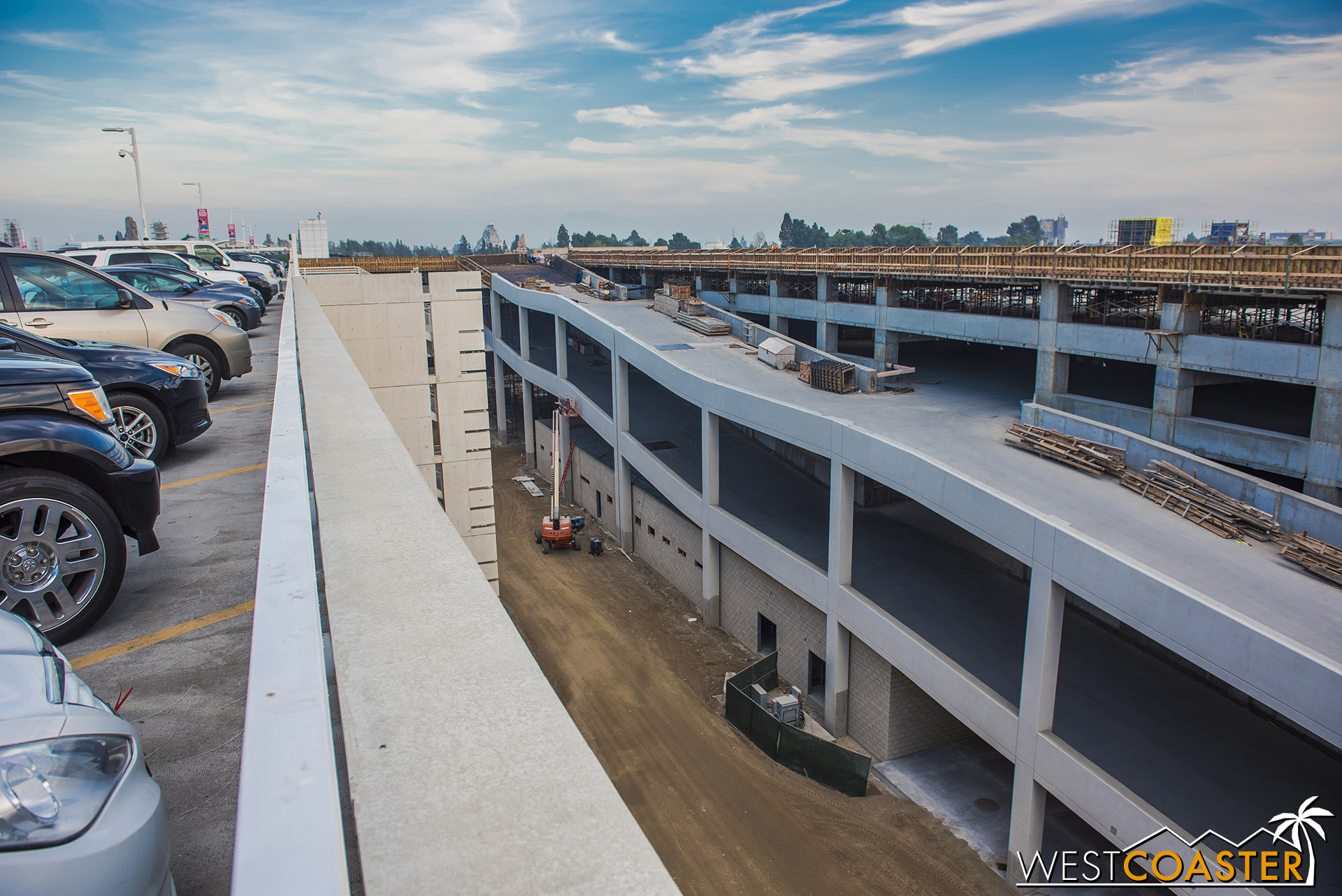 From the middle of the parking structure, here's a panorama of the current progress.
