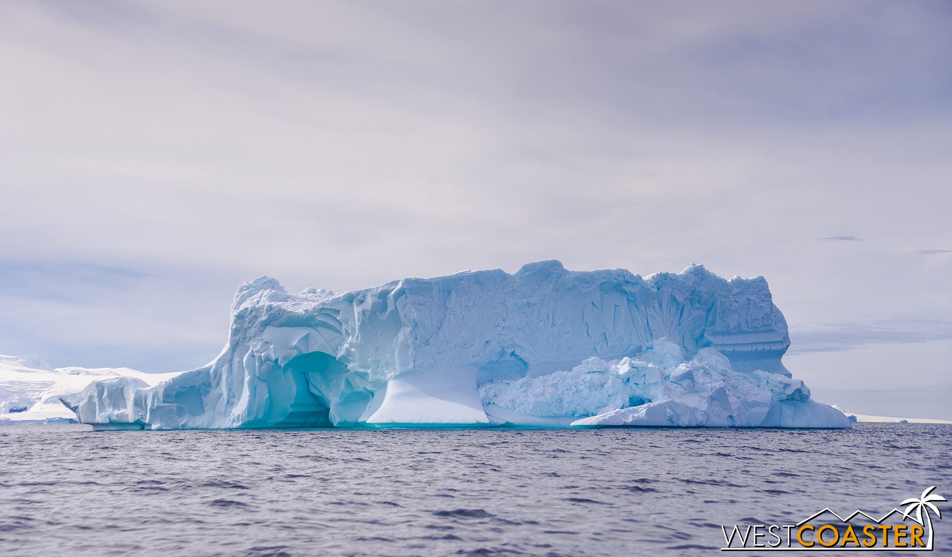 Passing an especially large and exquisite iceberg.