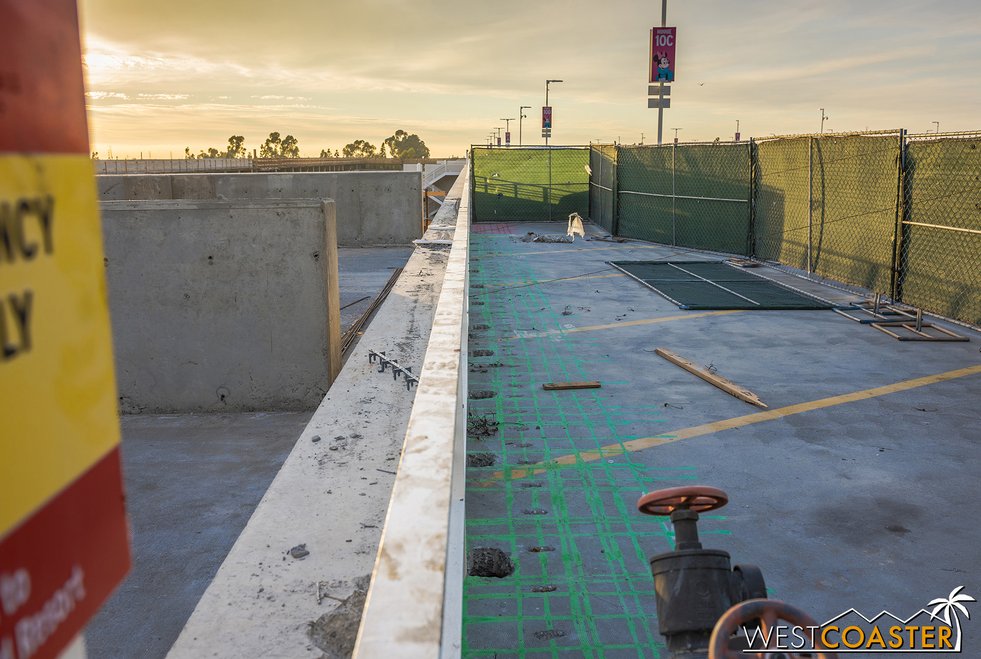 Over here, the rebar within the existing structure has been x-rayed and traced out so that when they cut out the existing parking structure wall and cut into the deck, they know just what reinforcement is being impacted.