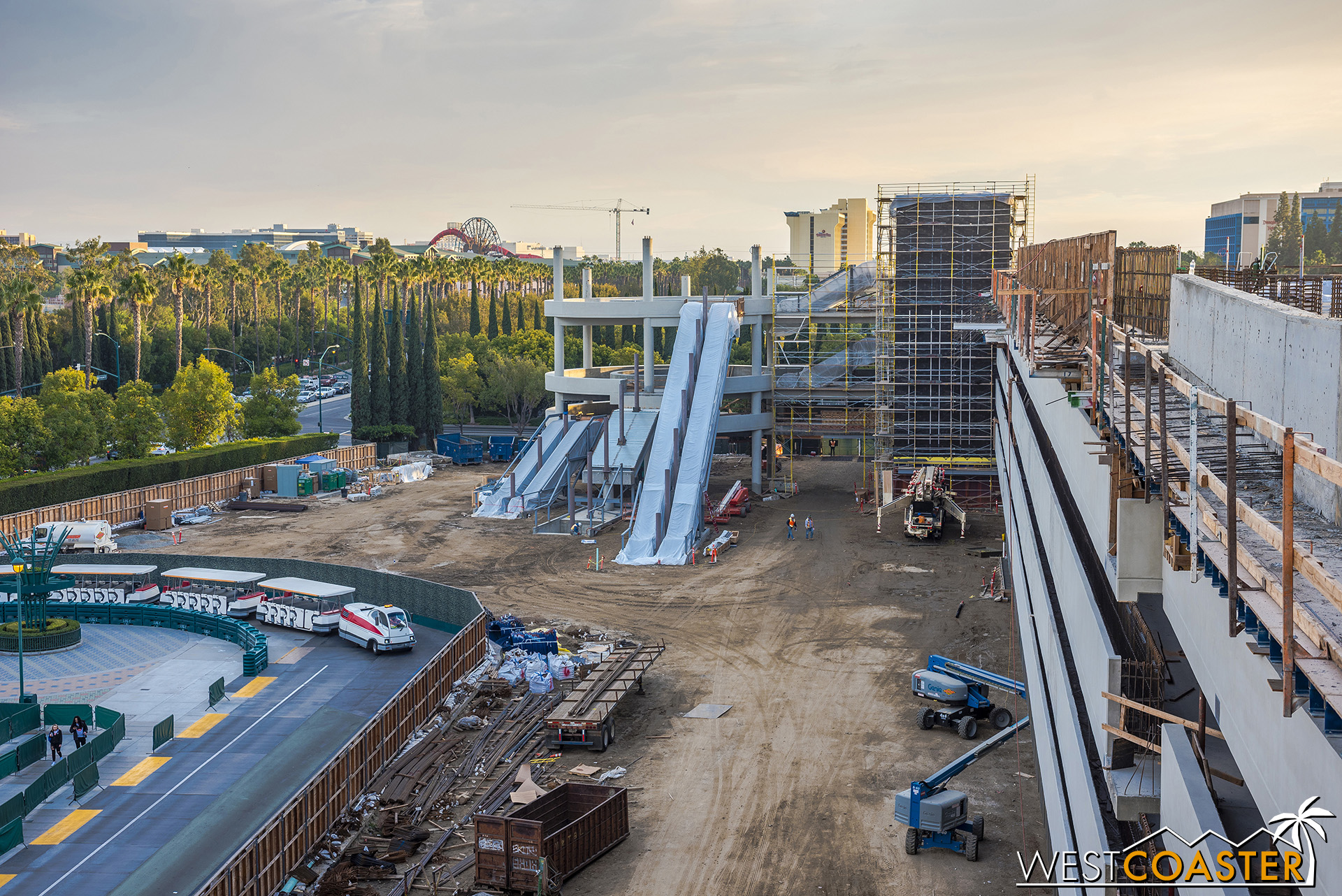 Over on the southeast corner of the new parking structure, the escalator promenade and elevator tower continue to progress.