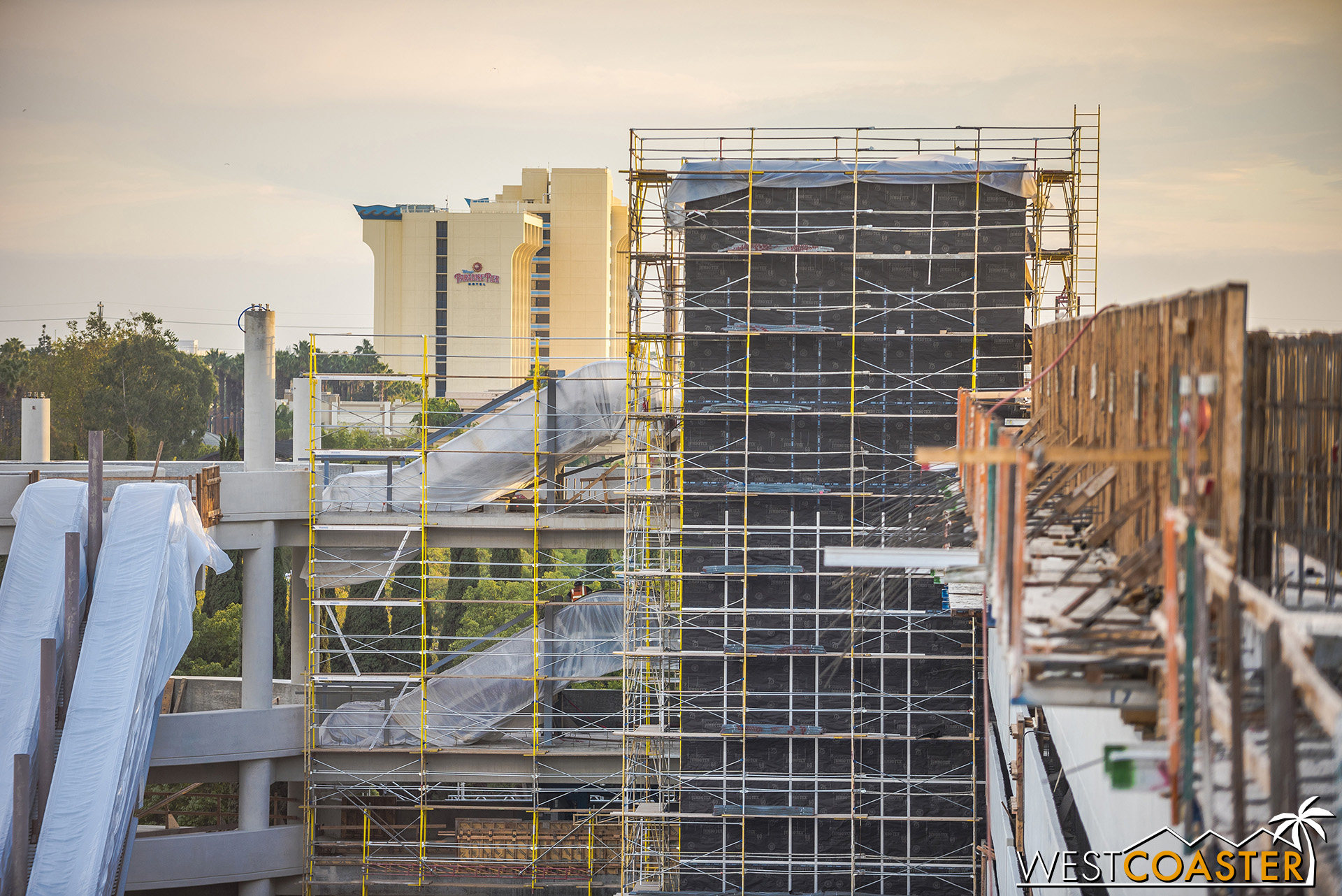 Waterproofing has been on the elevator tower walls.  it awaits the actual building skin, which I assume will be a composite panel similar to the existing structure.