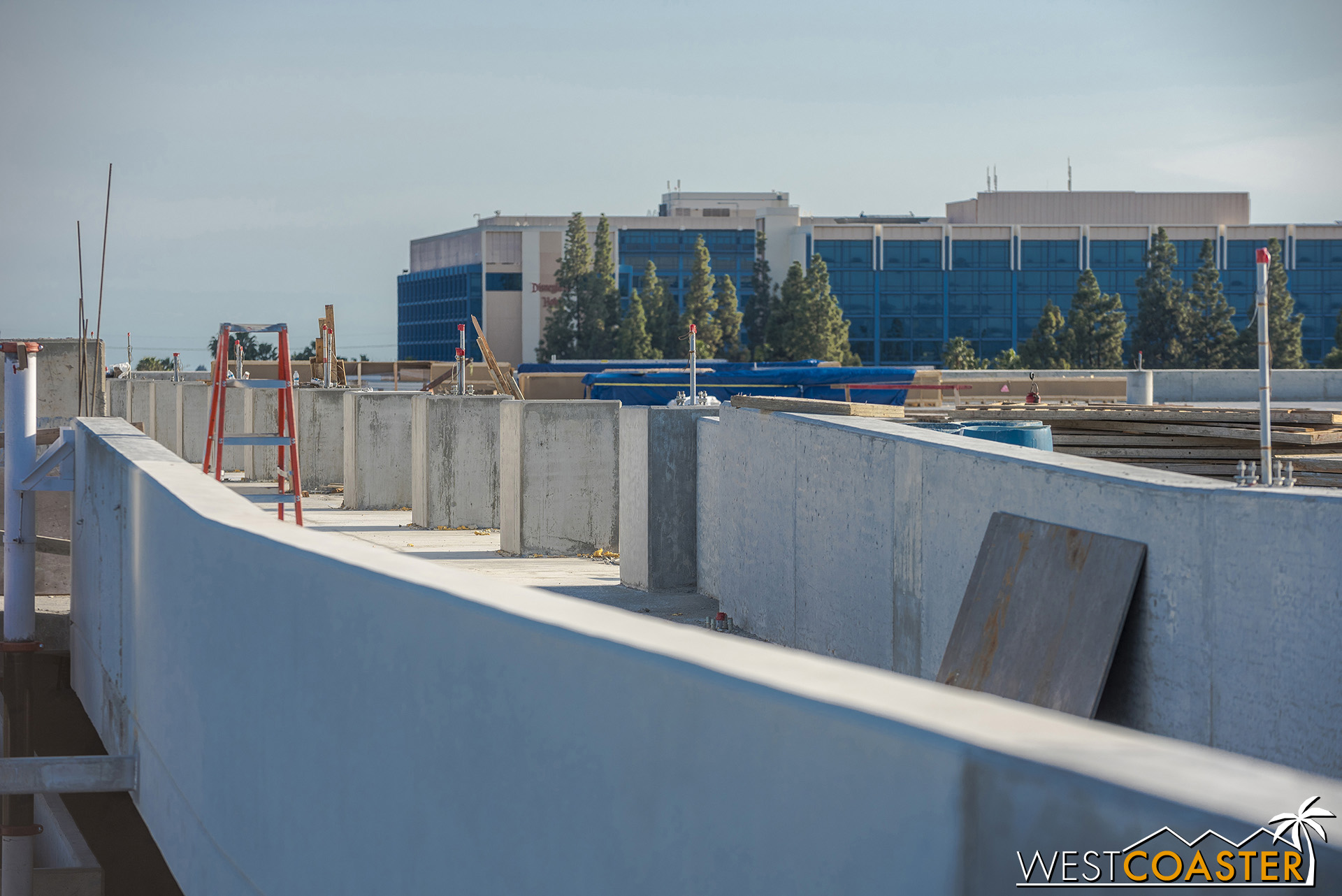 Gazing across the top level, these concrete plinths have been cast as part of pedestrian barrier protection.